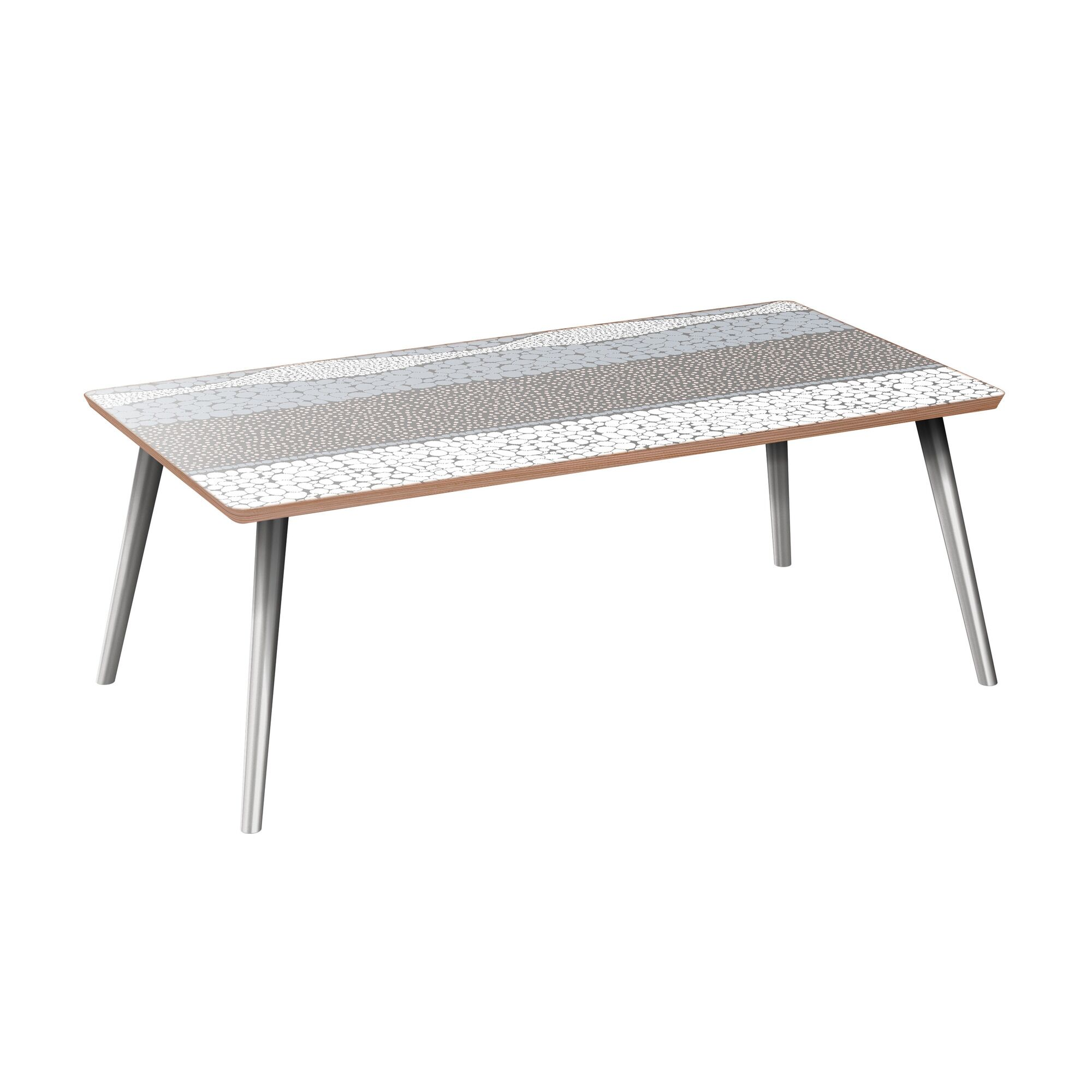 Kaity Coffee Table Table Base Color: Chrome, Table Top Color: Walnut