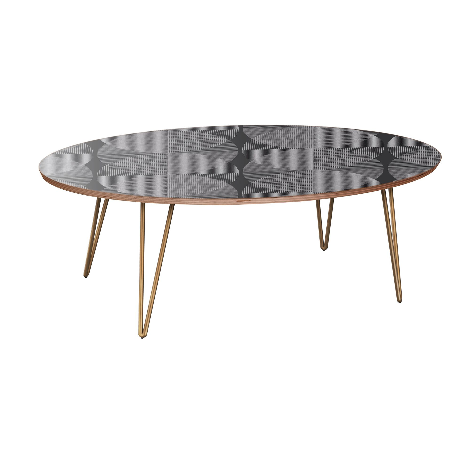 Kit Coffee Table Table Base Color: Brass, Table Top Color: Walnut