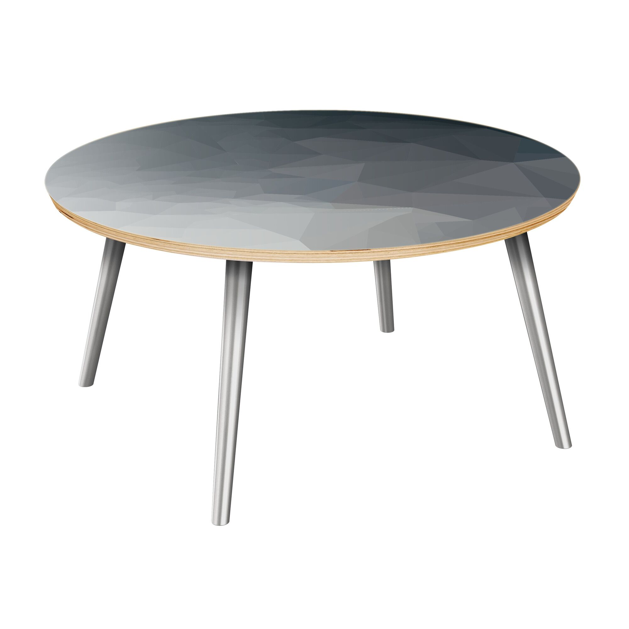 Janae Coffee Table Table Top Boarder Color: Natural, Table Base Color: Chrome, Table Top Color: Blue
