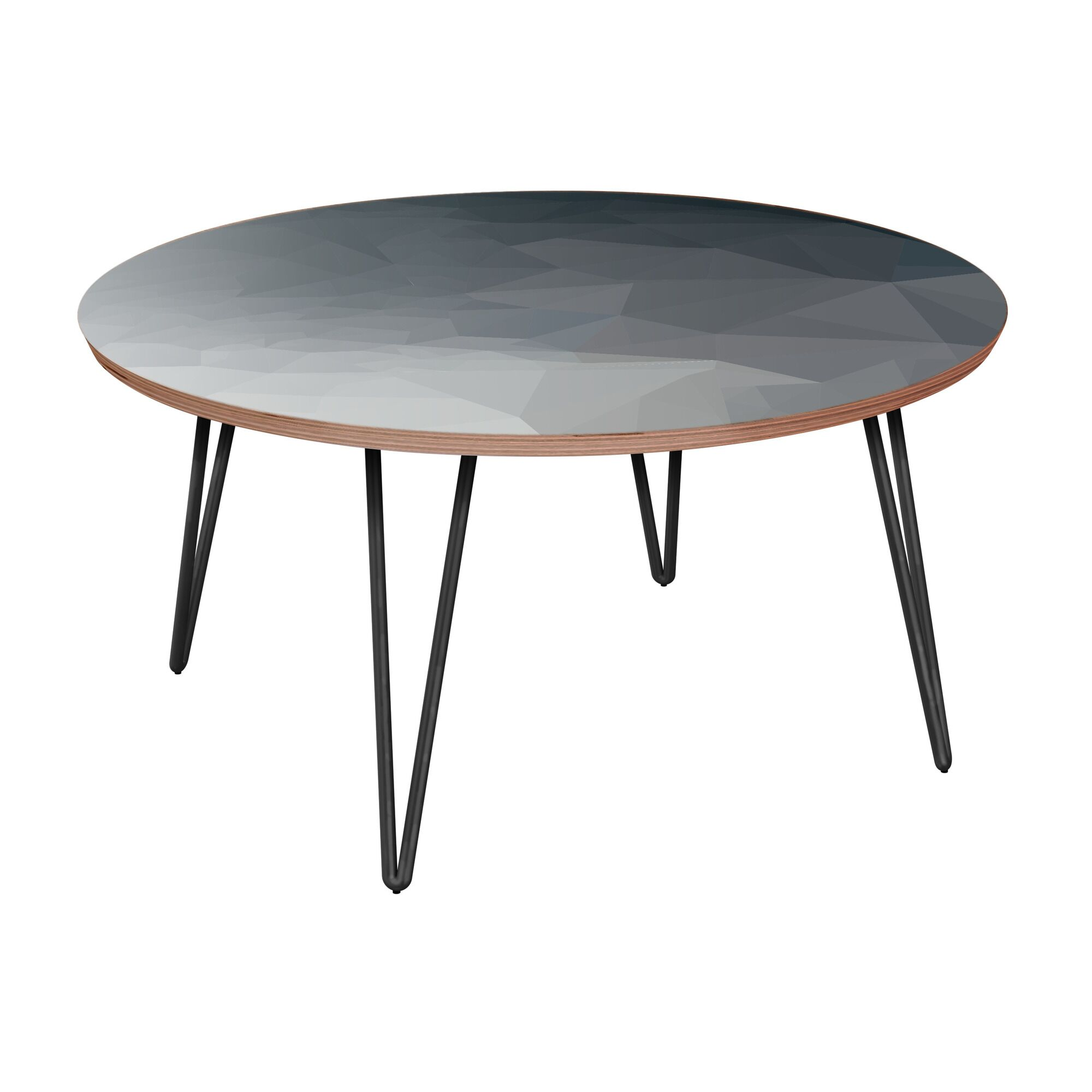 Herdon Coffee Table Table Base Color: Black, Table Top Boarder Color: Walnut, Table Top Color: Gray/Black