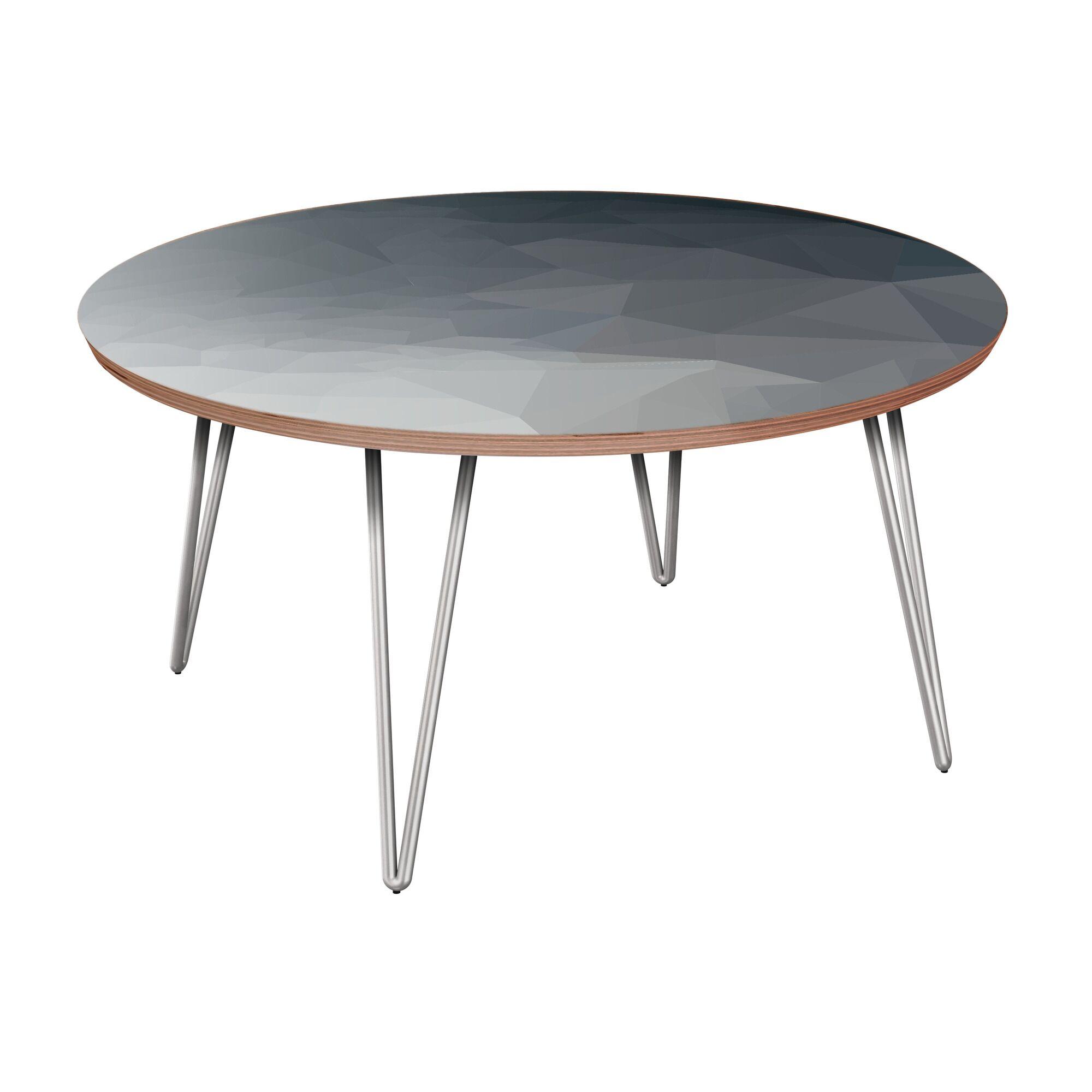 Herdon Coffee Table Table Base Color: Chrome, Table Top Boarder Color: Walnut, Table Top Color: Gray/Black