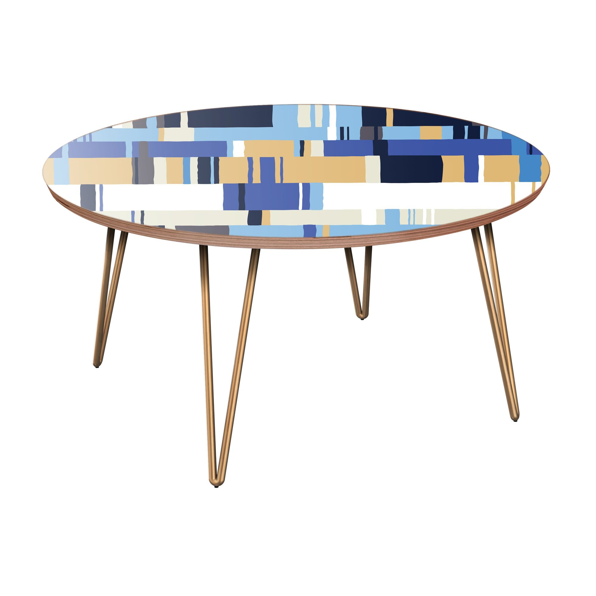 Galan Coffee Table Table Base Color: Brass, Table Top Color: Walnut