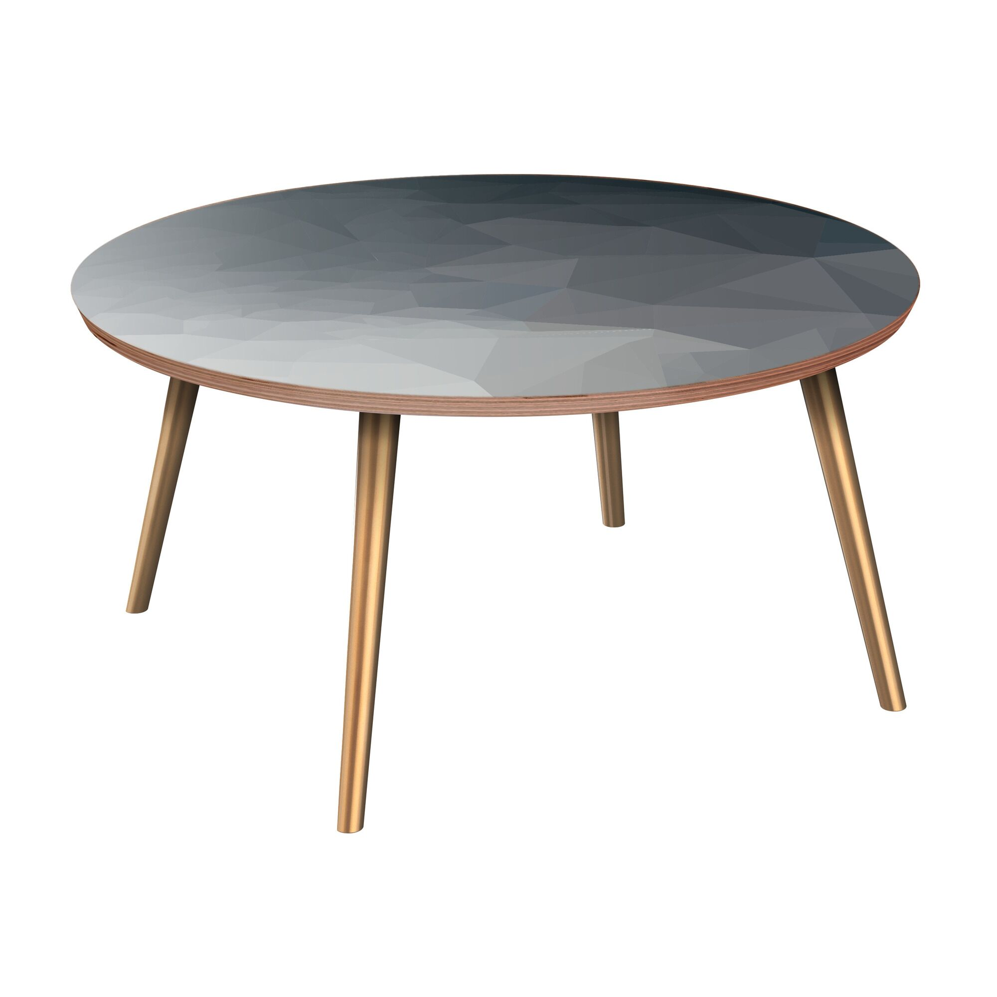 Janae Coffee Table Table Base Color: Brass, Table Top Boarder Color: Walnut, Table Top Color: Blue