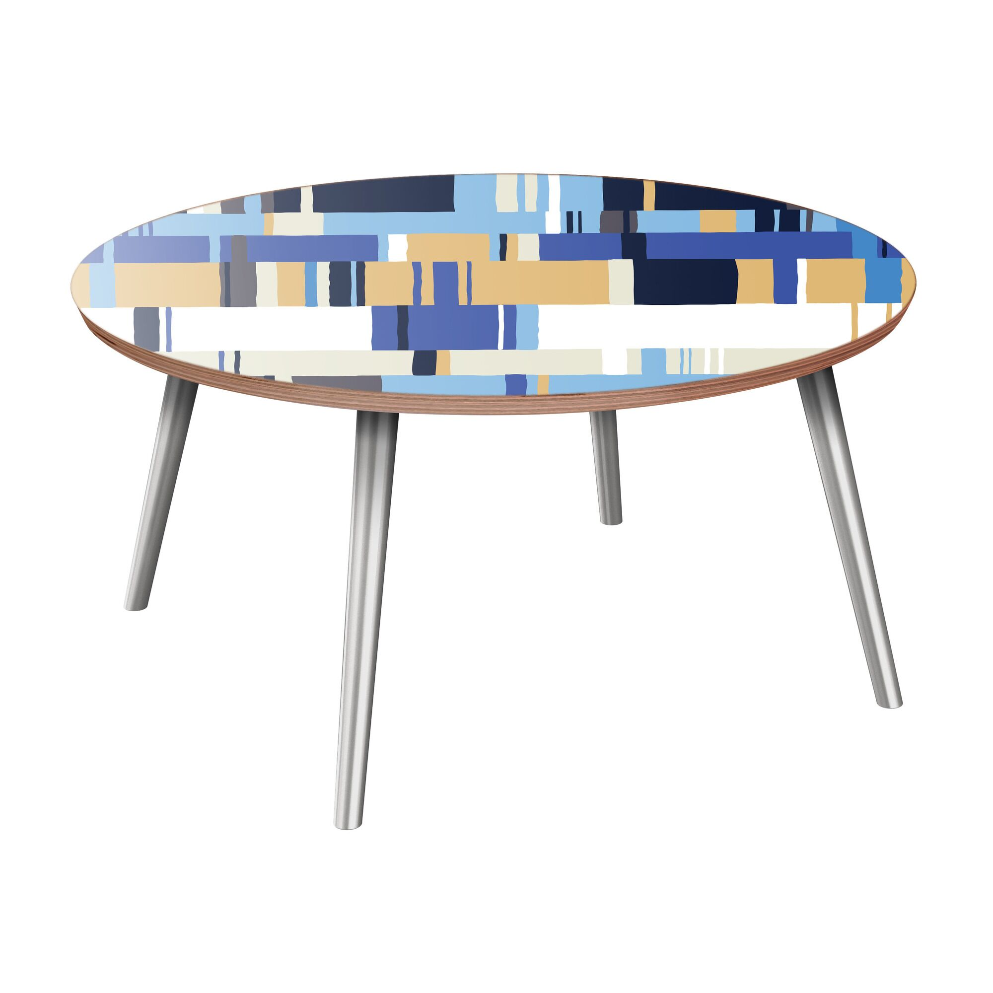 Hensel Coffee Table Table Base Color: Chrome, Table Top Color: Walnut