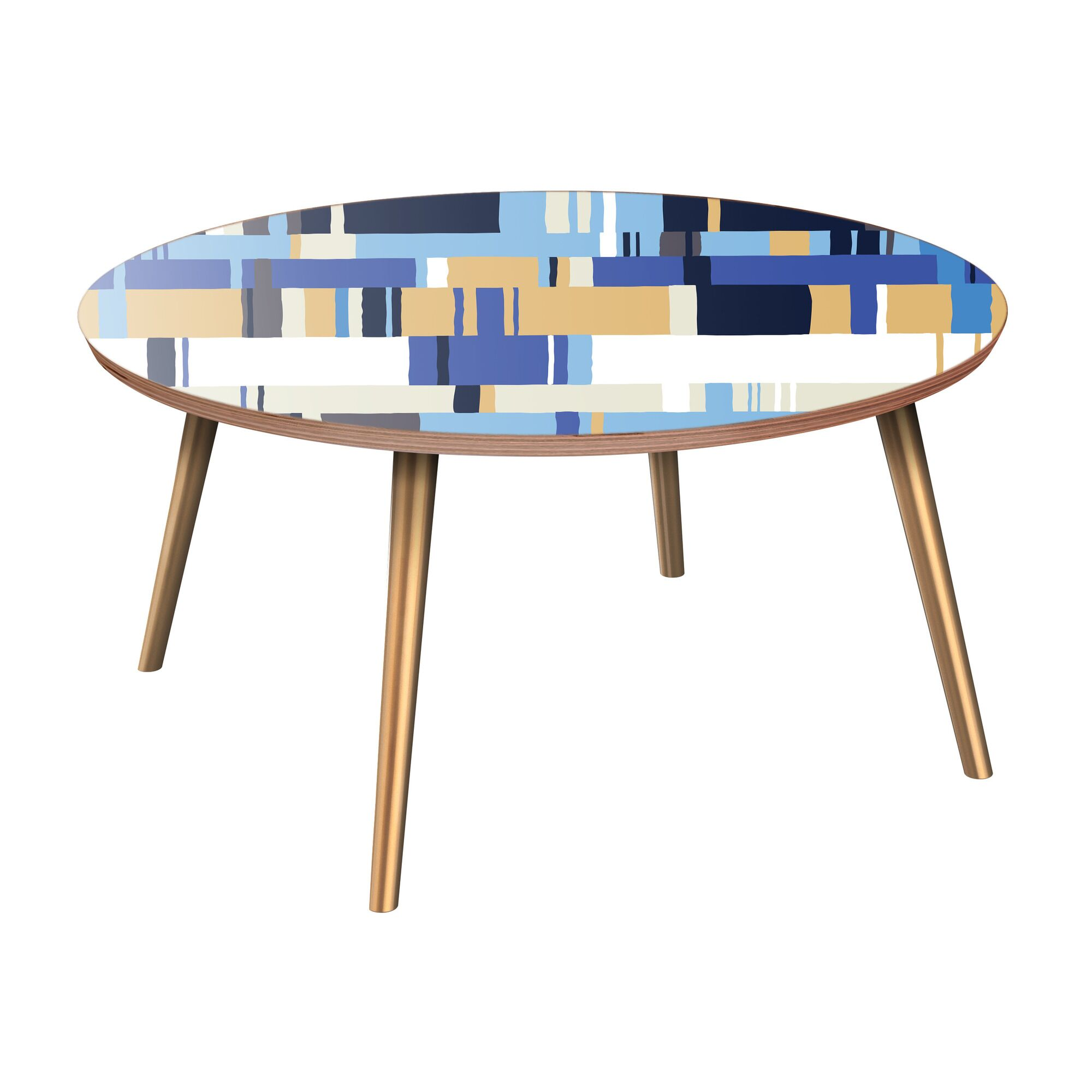 Hensel Coffee Table Table Base Color: Brass, Table Top Color: Walnut