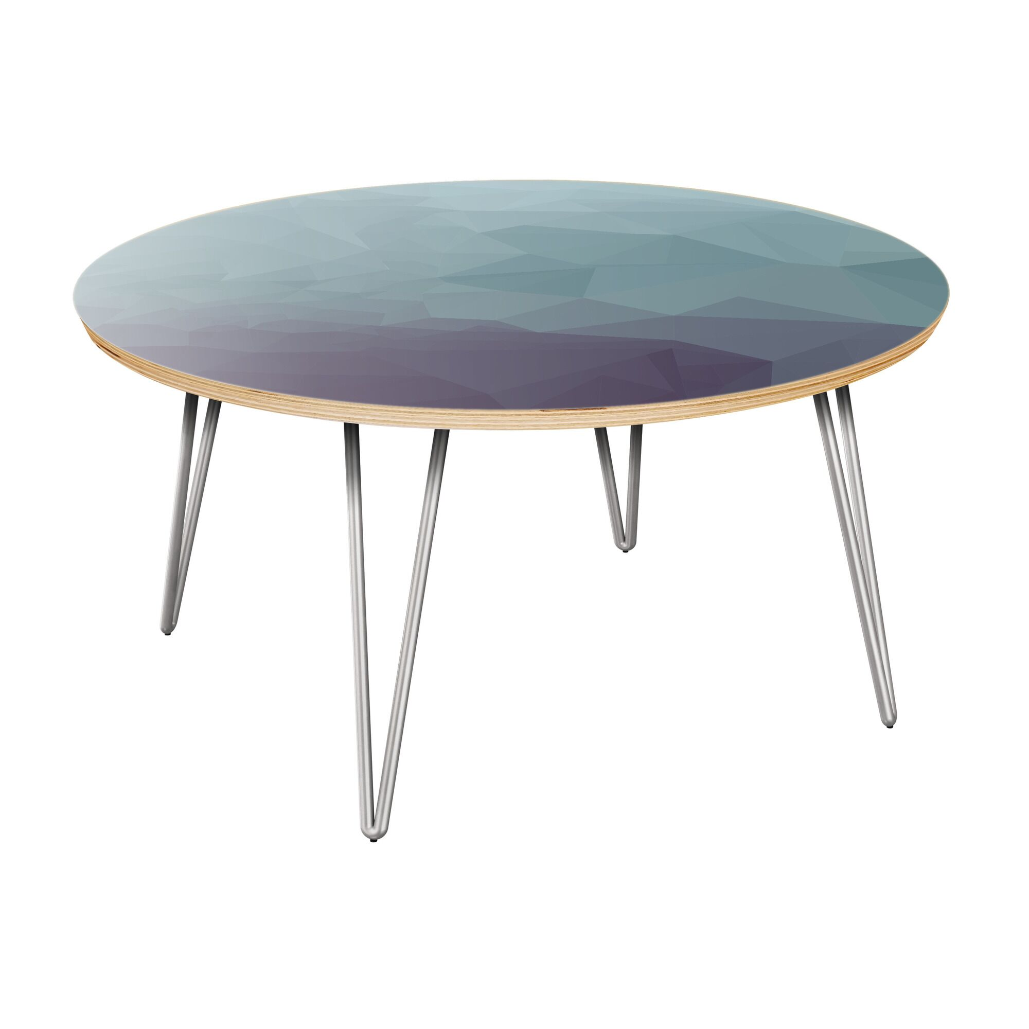 Herdon Coffee Table Table Top Boarder Color: Natural, Table Base Color: Chrome, Table Top Color: Gray/Black