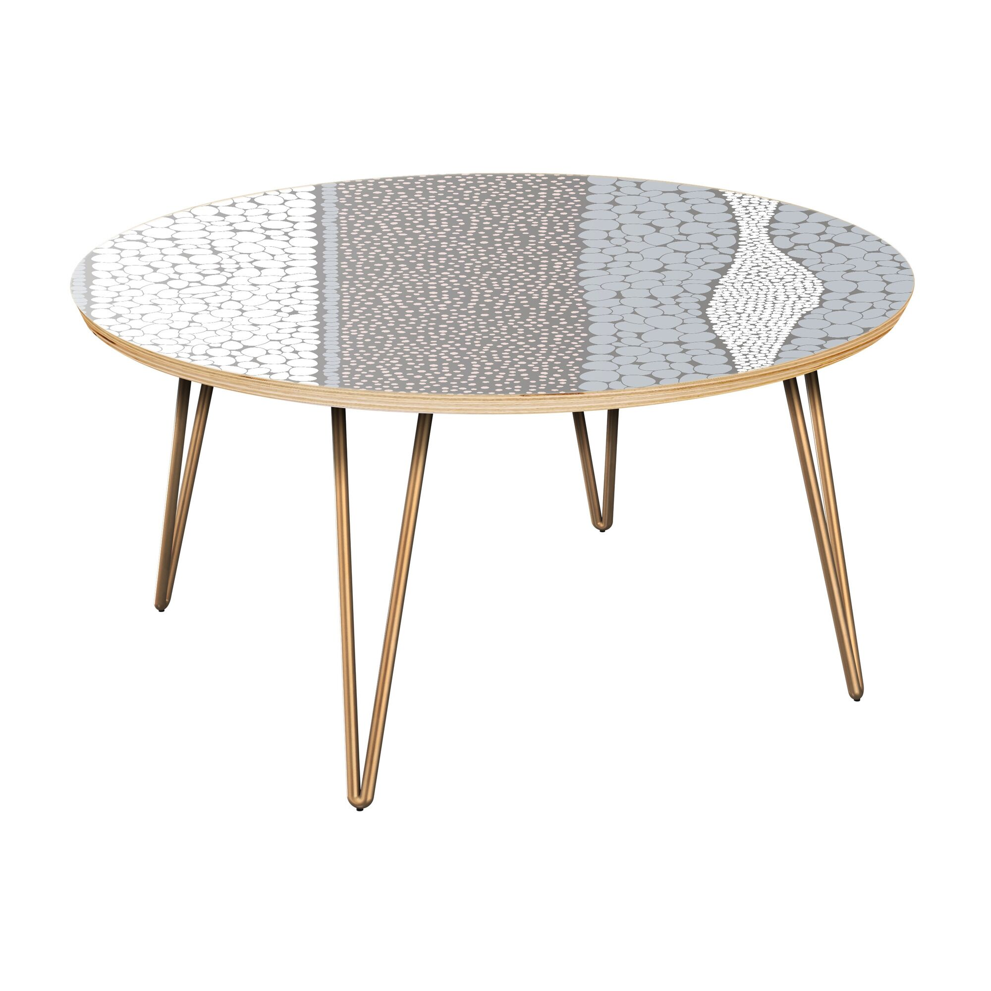 Fuiloro Coffee Table Table Top Color: Natural, Table Base Color: Brass