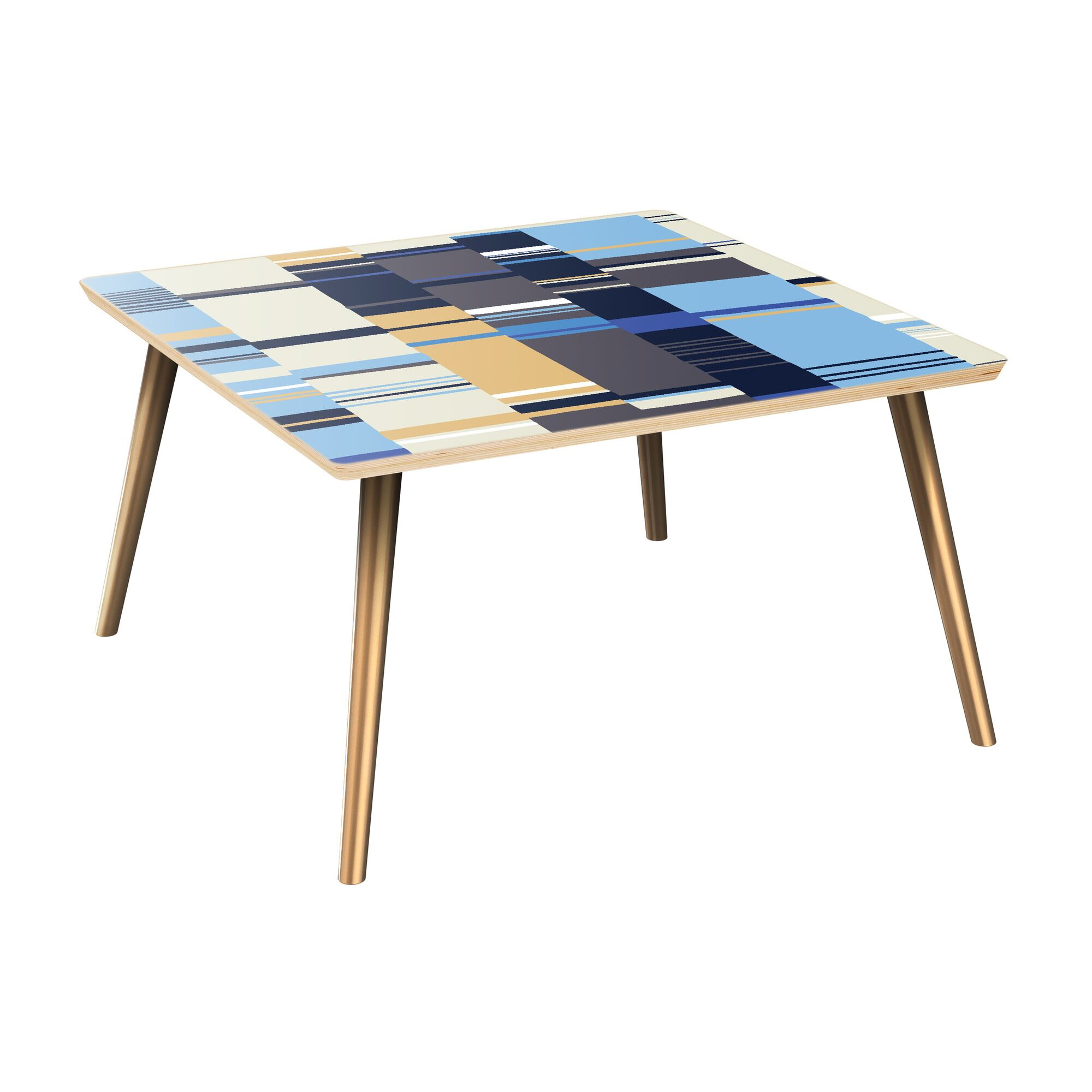 Rangel Coffee Table Table Top Color: Natural, Table Base Color: Brass