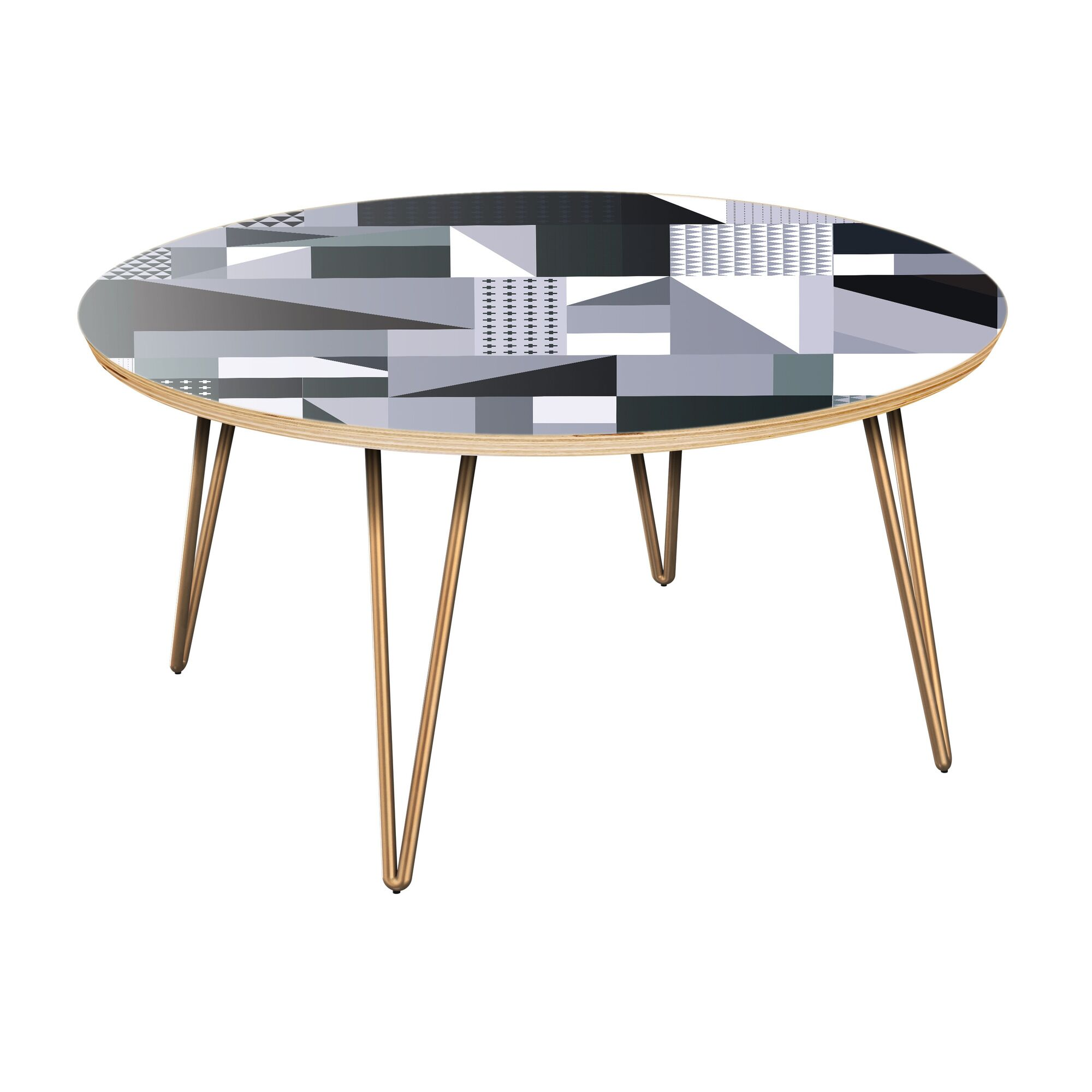 Inverness Coffee Table Table Top Color: Natural, Table Base Color: Brass