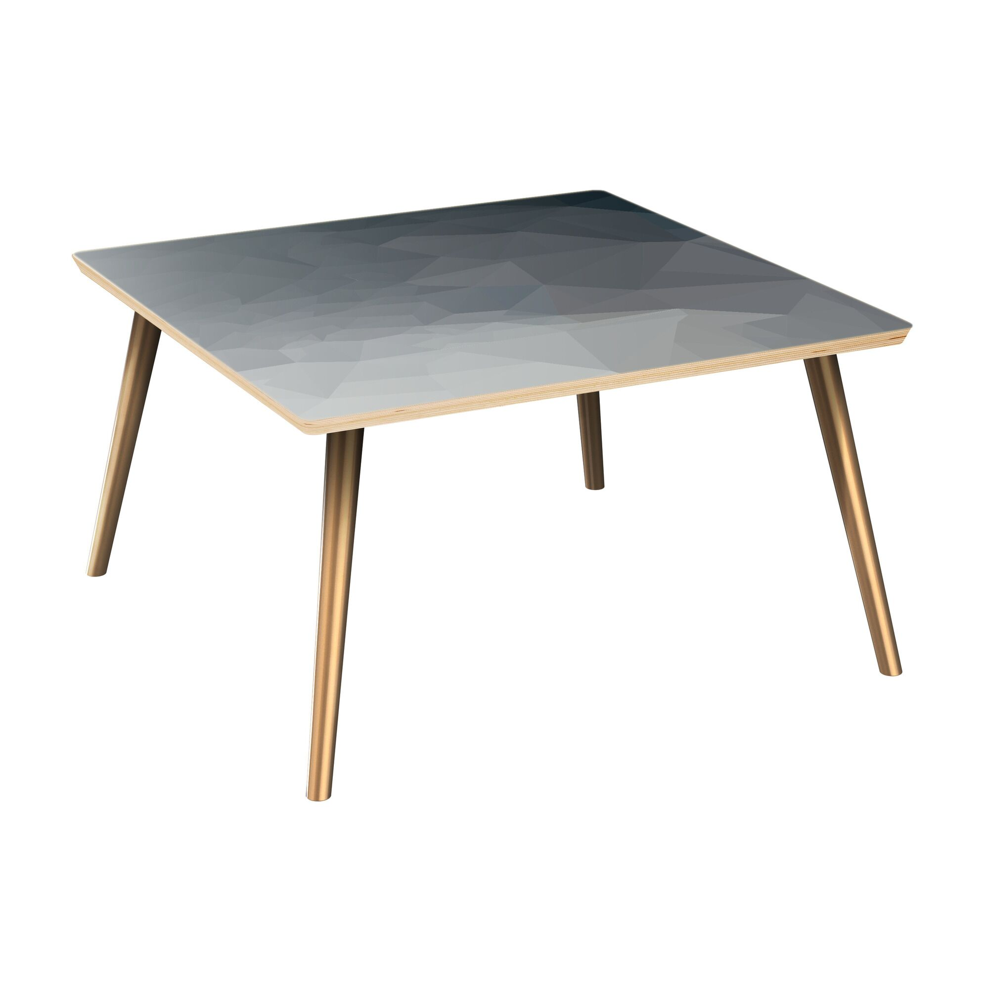 Jered Coffee Table Table Top Boarder Color: Natural, Table Base Color: Brass, Table Top Color: Gray/Black