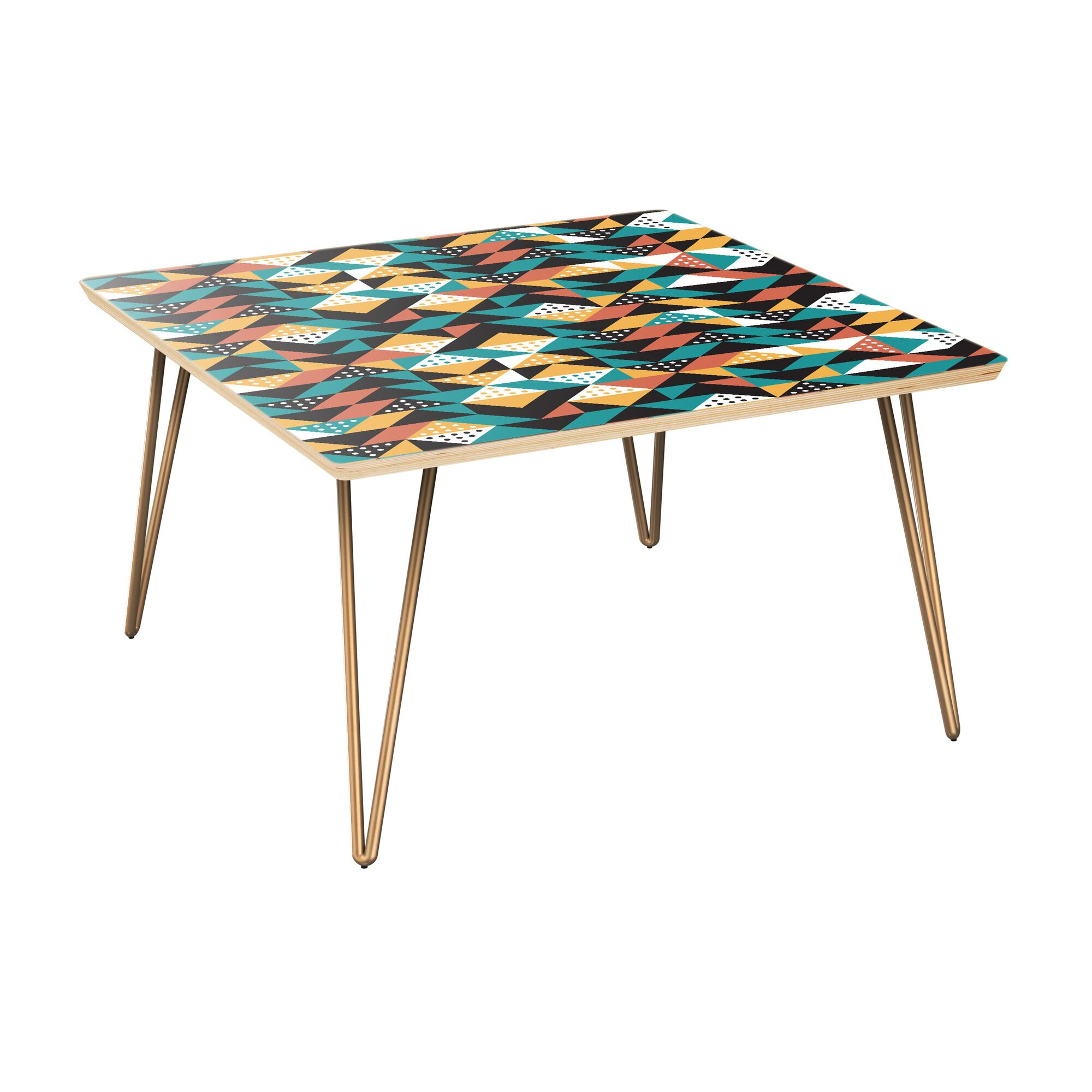 Aquarius Coffee Table Table Top Color: Natural, Table Base Color: Brass