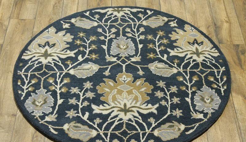 Bovill Agra Oriental Hand-Tufted Wool Navy Blue/Beige Area Rug