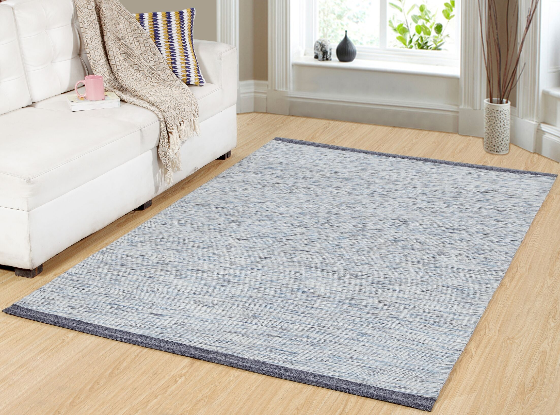 Hawtree Hand-Woven Dark Gray/Light Blue Area Rug Rug Size: Rectangle 8' x 11'