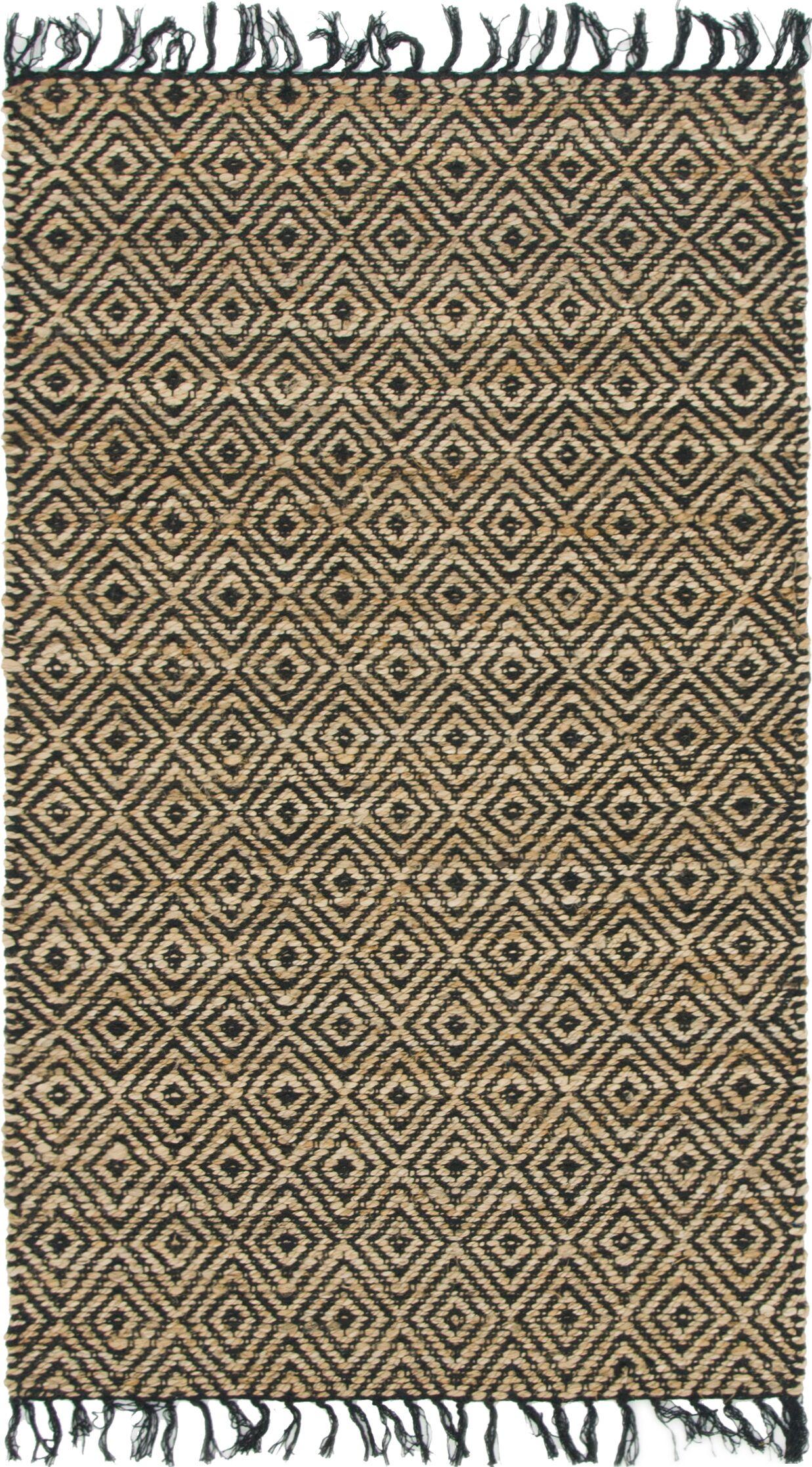 Mcelhaney Hand-Woven Beige/Black Area Rug Rug Size: Rectangle 3'3