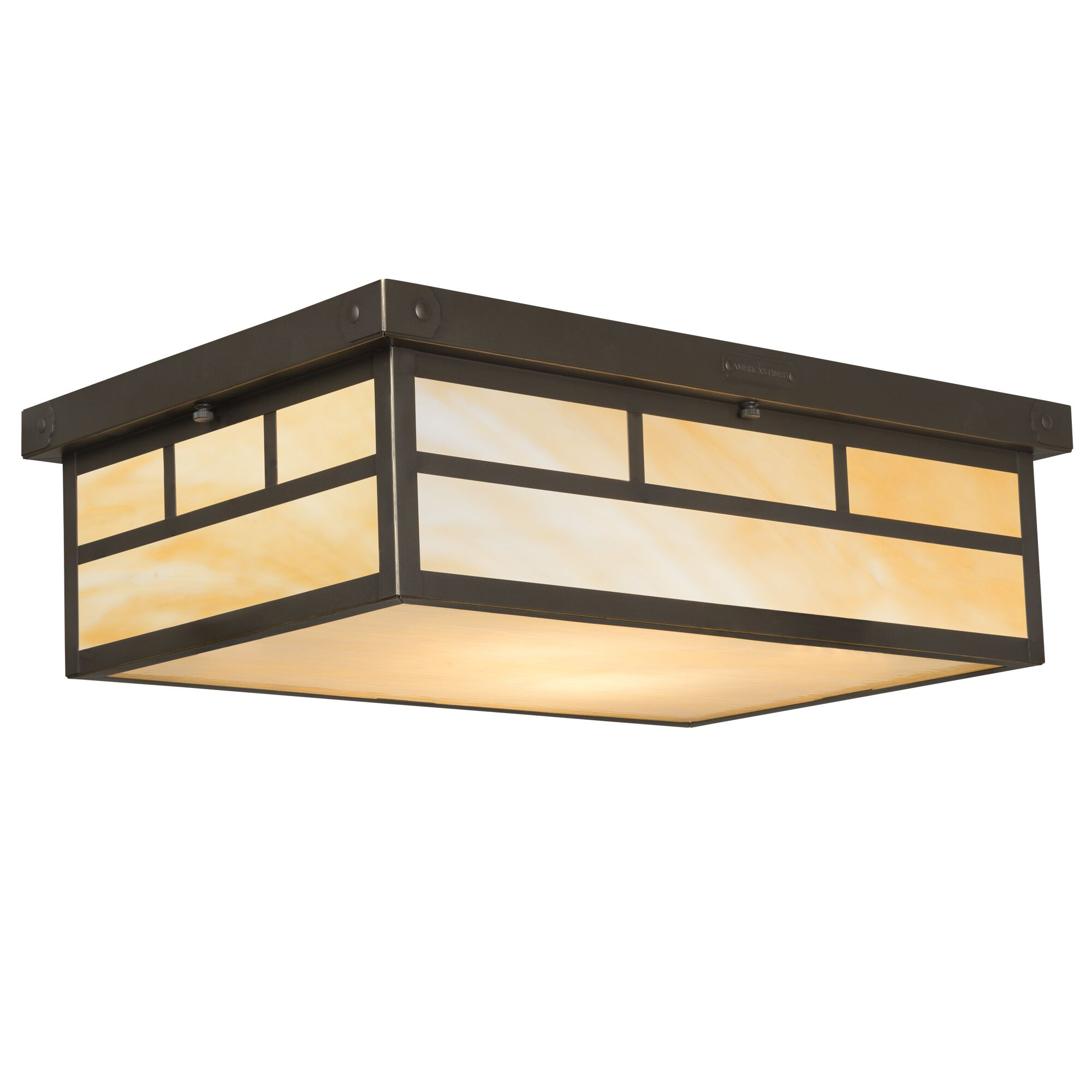 Emond 2-Light Flush Mount Shade Color: Gold Iridescent, Fixture Finish: Old Penny