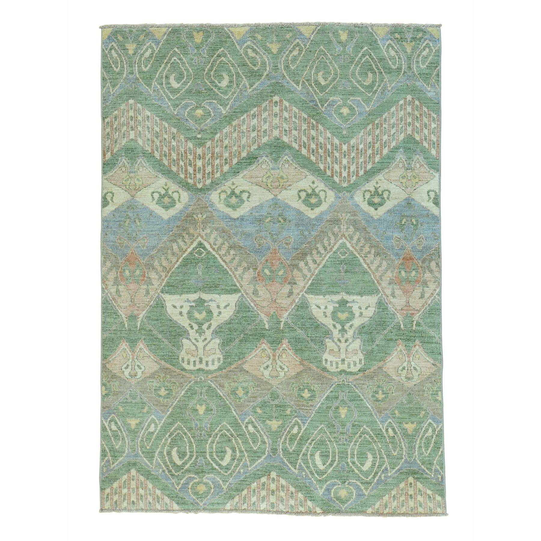 One-of-a-Kind Gillum Ikat Uzbek Oriental Hand-Knotted Green/Beige Area Rug