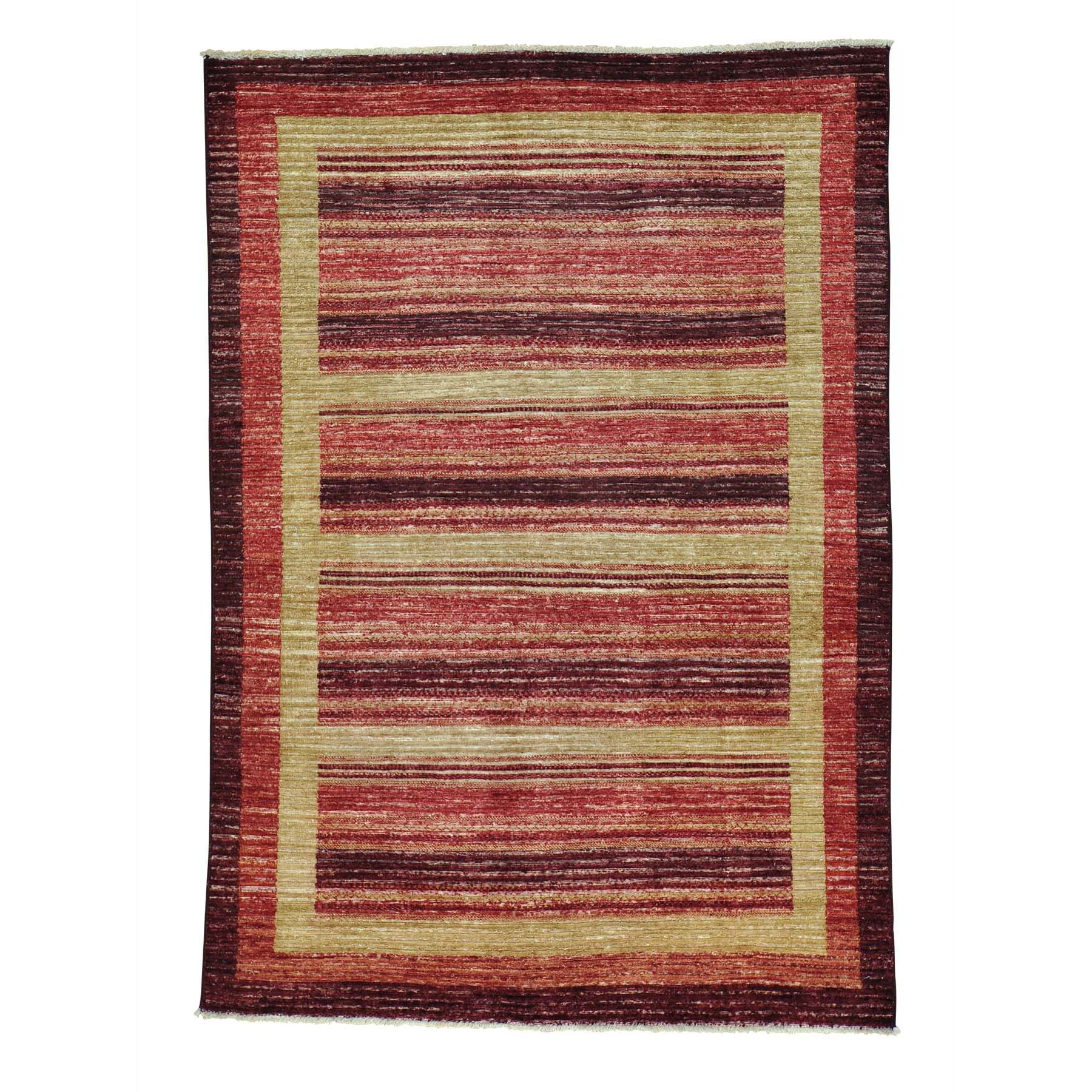 One-of-a-Kind Ferriera Striped Modern Oriental Hand-Knotted Red/Brown Area Rug