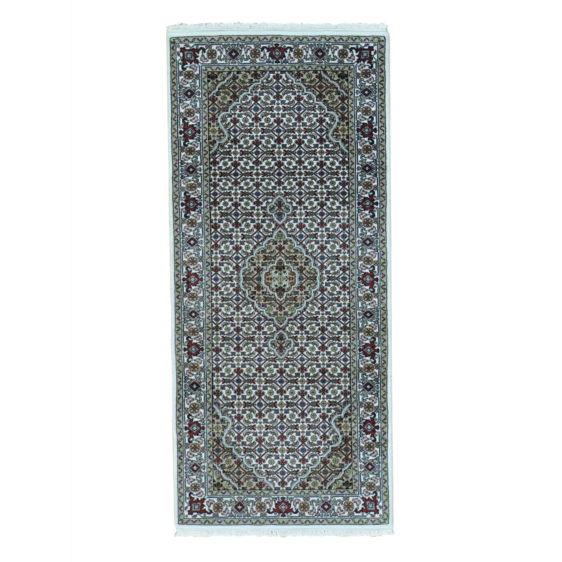 One-of-a-Kind Gholson Tabriz Mahi Oriental Hand-Knotted Silk Ivory Area Rug