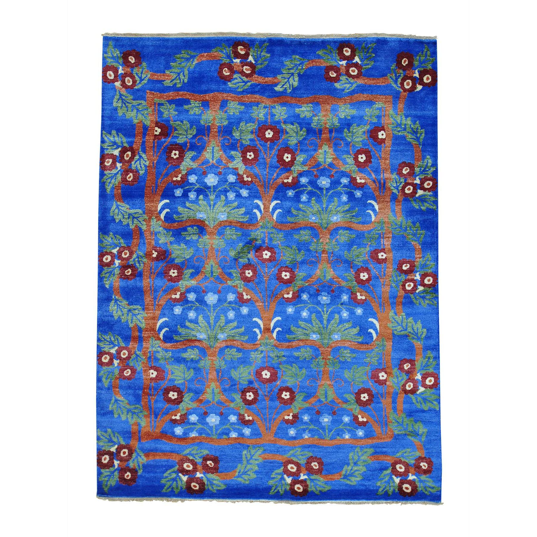 One-of-a-Kind Fager Arts and Crafts Denim Oriental Hand-Knotted Silk Blue Area Rug