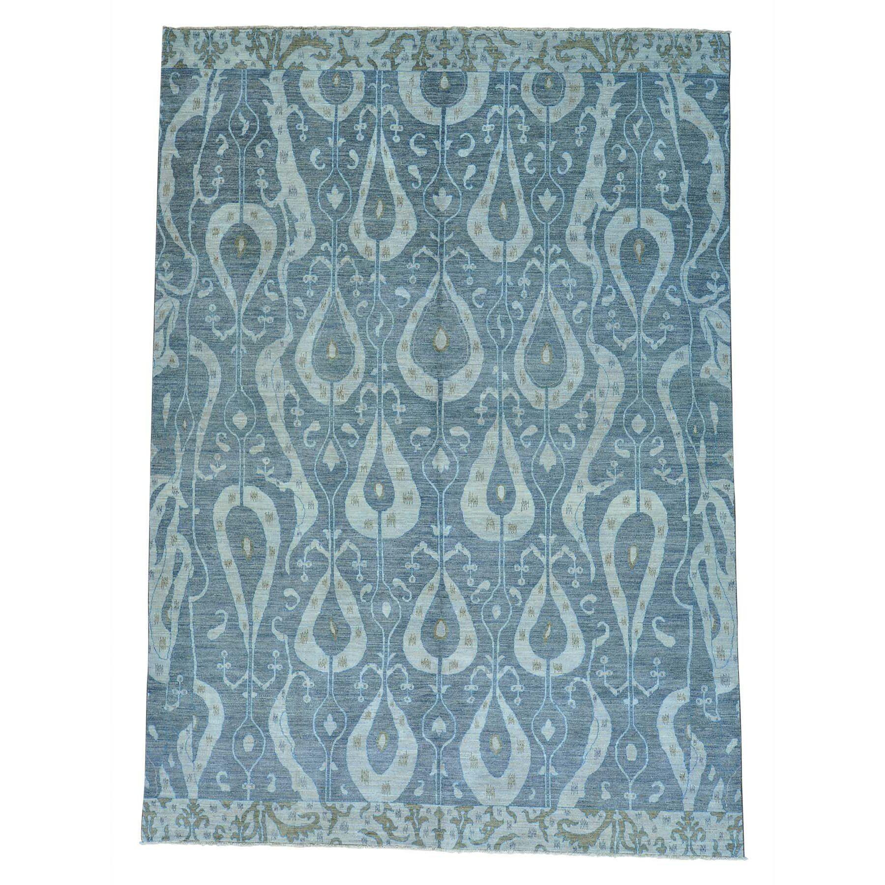 One-of-a-Kind Dipasquale Ikat Uzbek Oriental Hand-Knotted Gray Area Rug