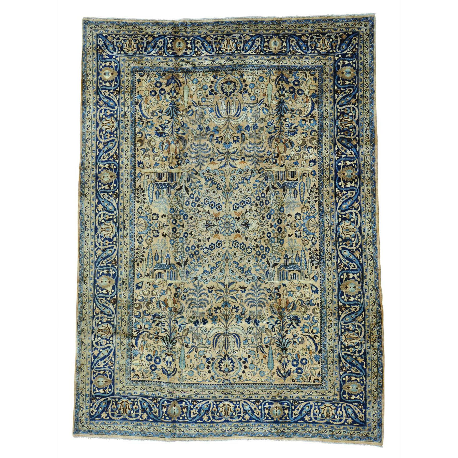 One-of-a-Kind Dinan Persian Mashad Exc Cond Oriental Hand-Knotted Beige Area Rug