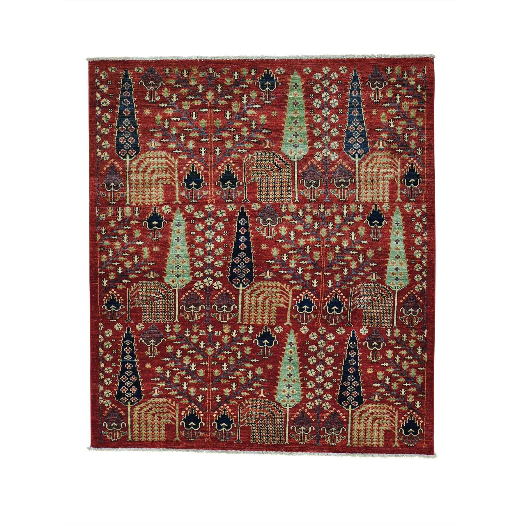 One-of-a-Kind Dutcher Willow and Cypress Tree Squarish Hand-Knotted Red Area Rug