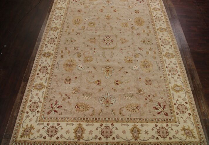 One-of-a-Kind Mccoy Oushak Agra Oriental Hand-Knotted Wool Beige Area Rug