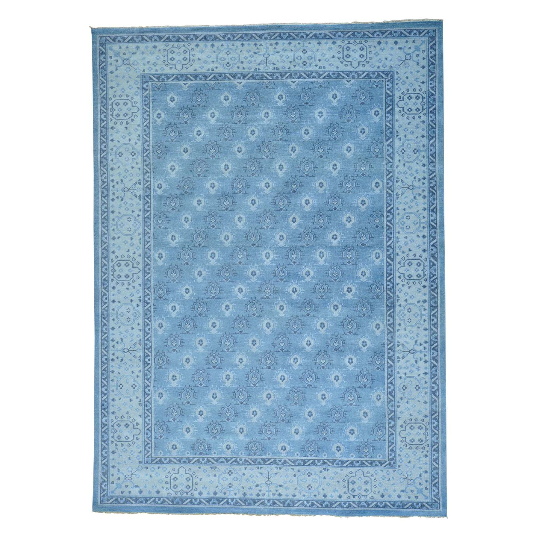 One-of-a-Kind Dilbeck Turkish Knot Cropped Thin Oriental Hand-Knotted Blue Area Rug
