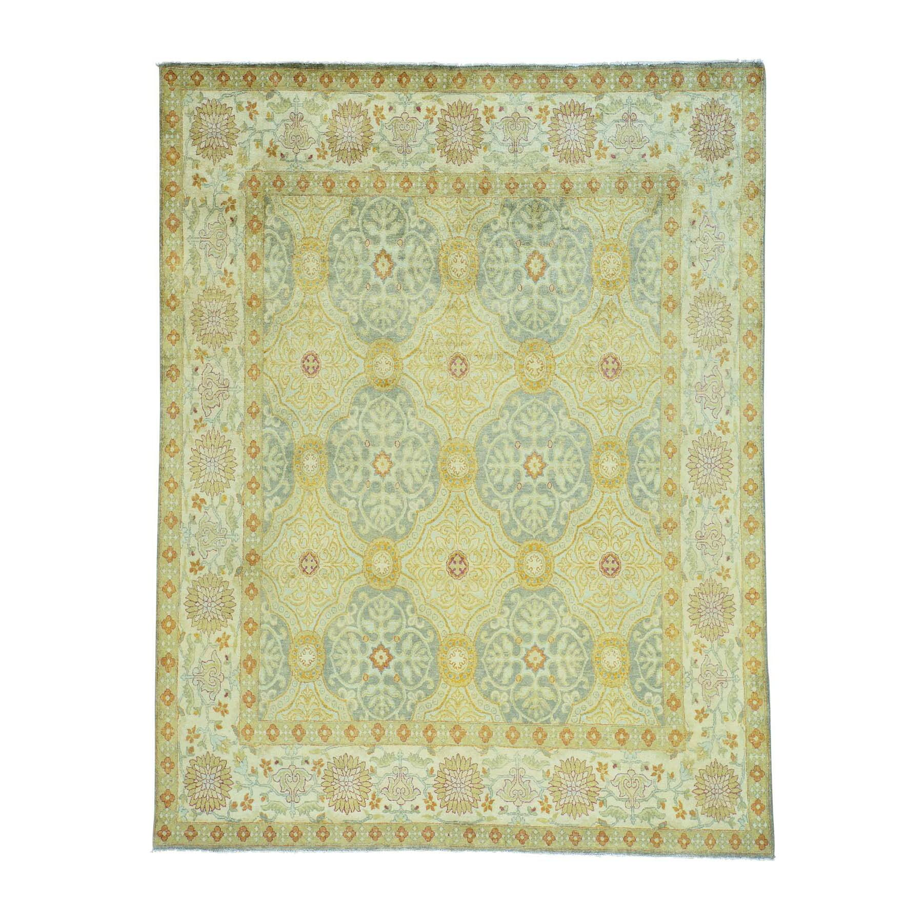 One-of-a-Kind Endo Neo Classic European Motifs Oriental Hand-Knotted Silk Gray/Yellow Area Rug