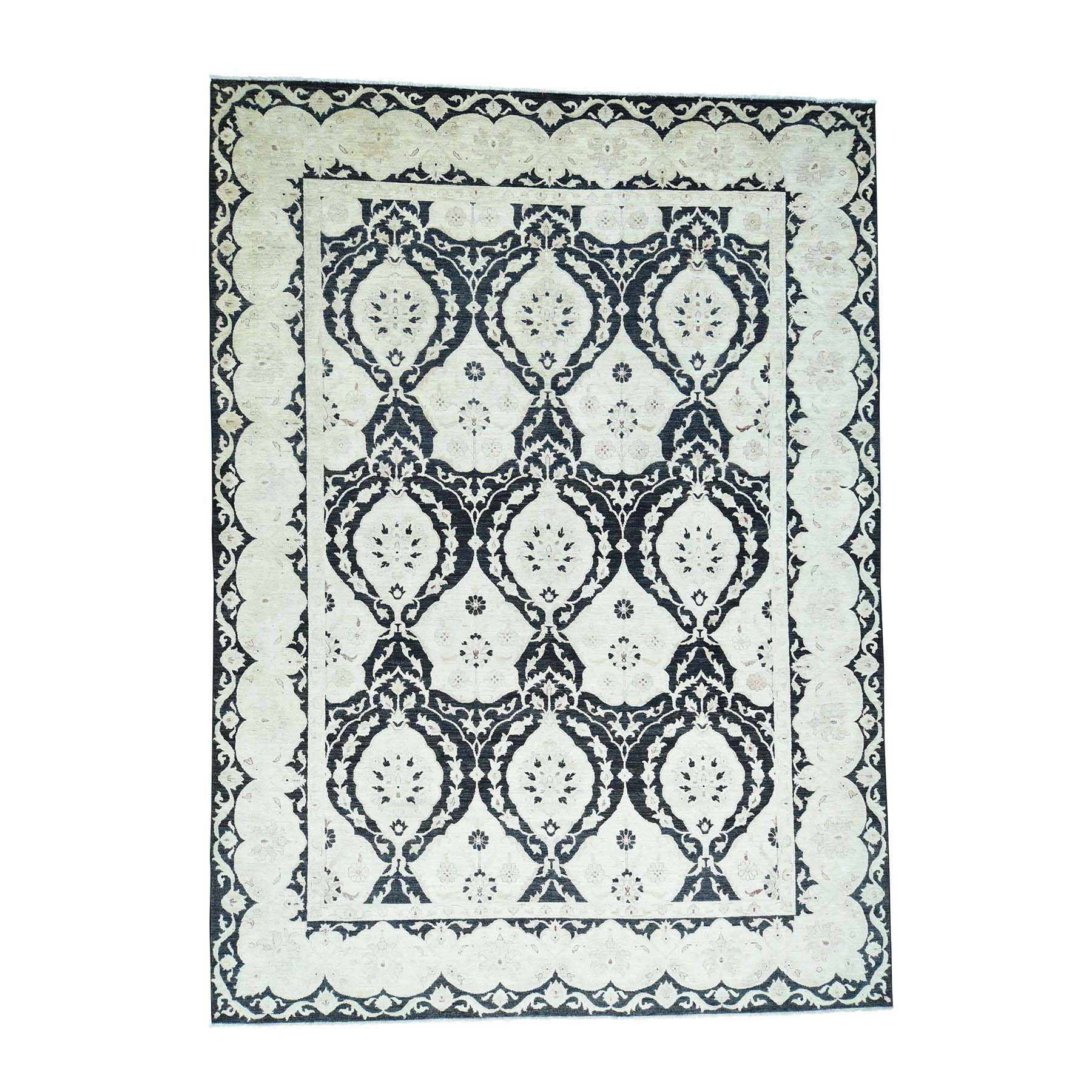 One-of-a-Kind Garrido Peshawar with Moughal Oriental Hand-Knotted Black Area Rug
