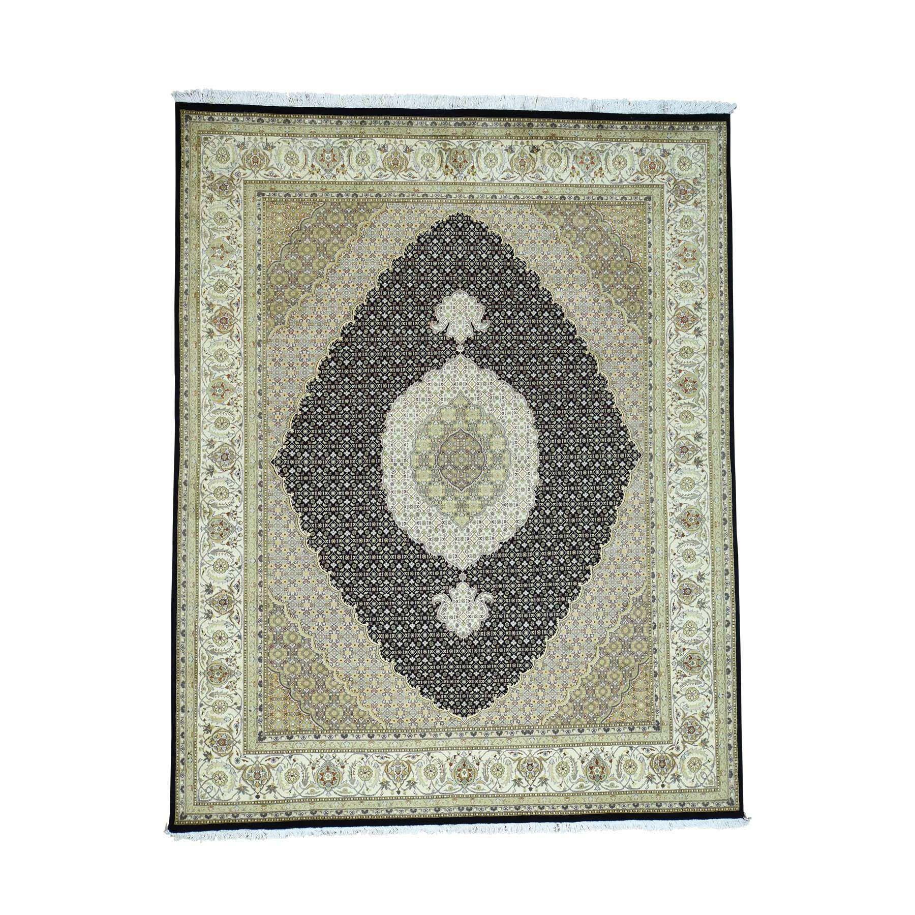 One-of-a-Kind Gartman Pak Persian Mahi Oriental Hand-Knotted Silk Black Area Rug