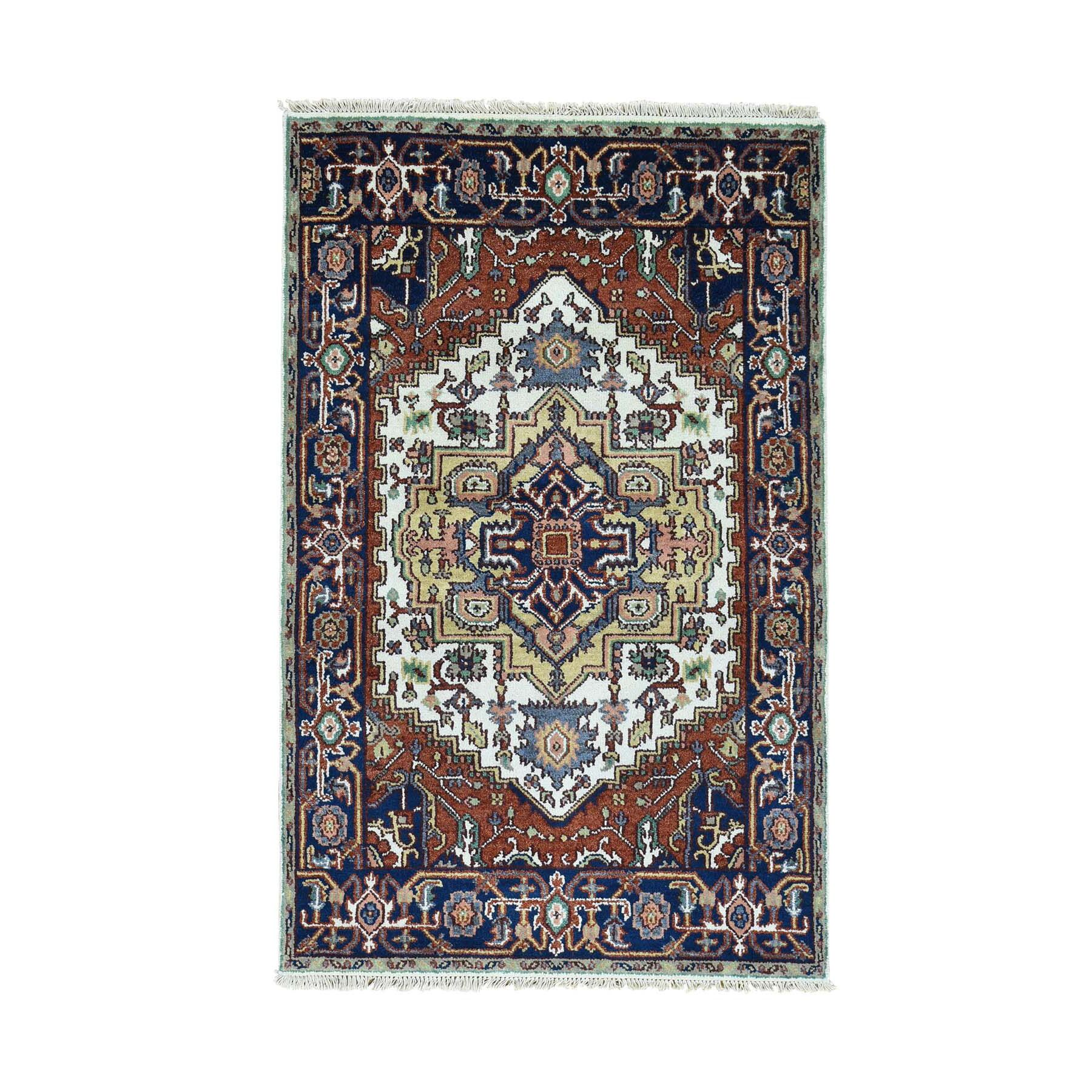 One-of-a-Kind Newcastle Oriental Carpet Hand-Knotted Ivory Area Rug