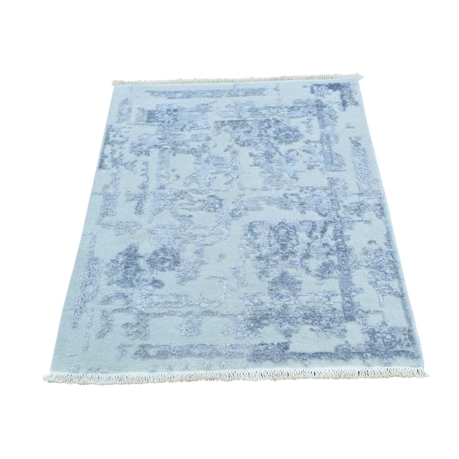 One-of-a-Kind Glendale Heights Strike Off Abstract Oriental Hand-Knotted Silk Ivory Area Rug