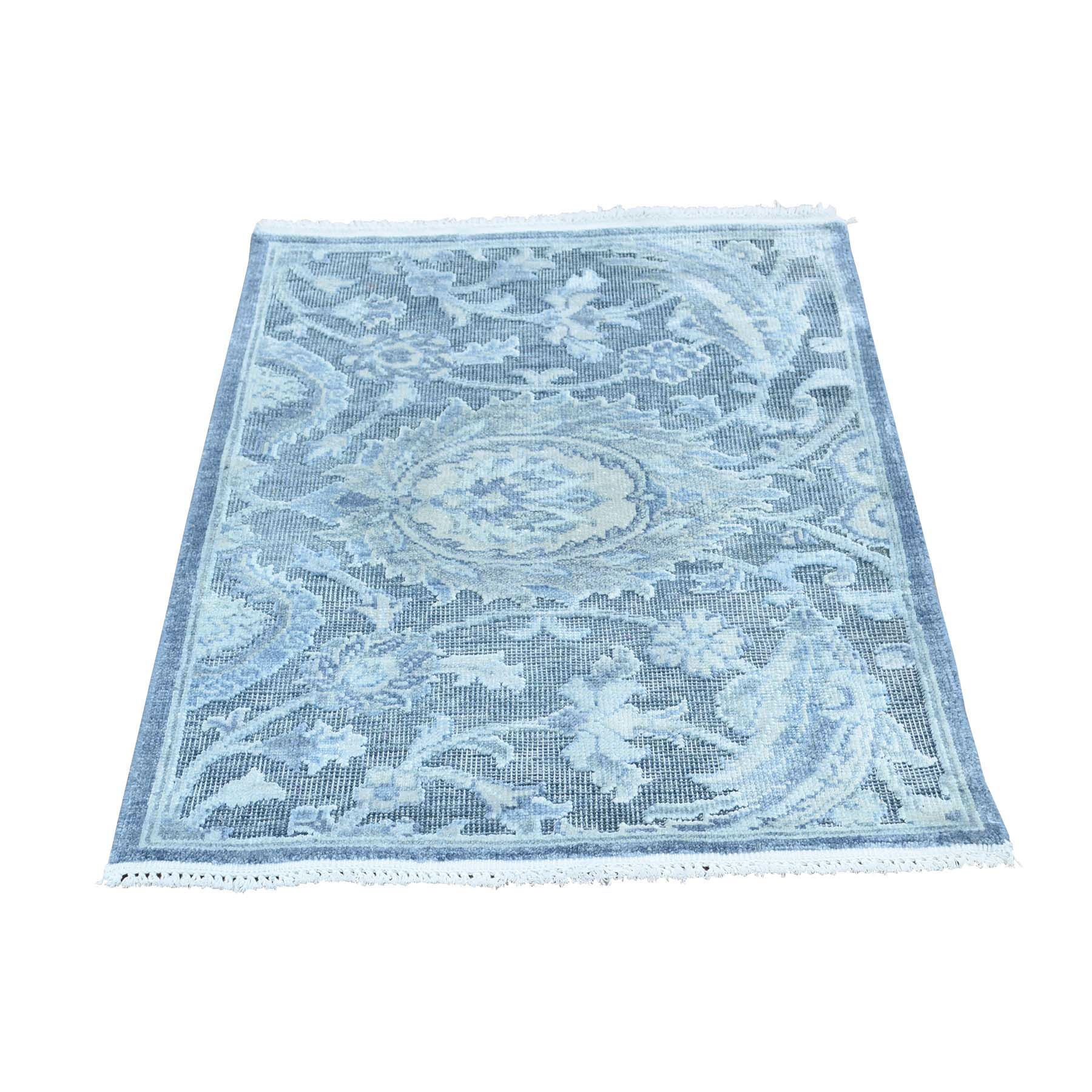 One-of-a-Kind Glidden Modern with Oxidized Oriental Hand-Knotted Silk Blue Area Rug