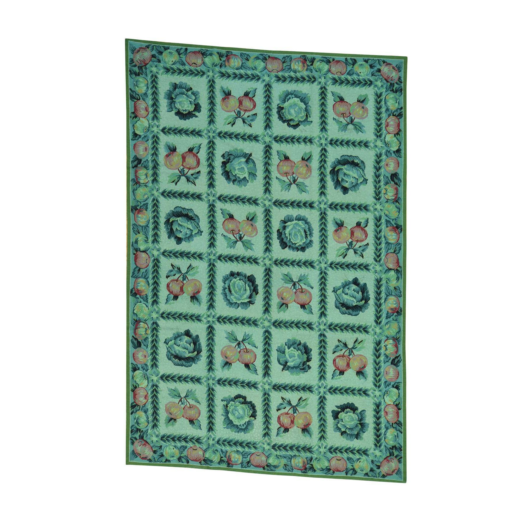 One-of-a-Kind Morello Overdyed Needlepoint with Fruits Hand-Knotted Green Area Rug