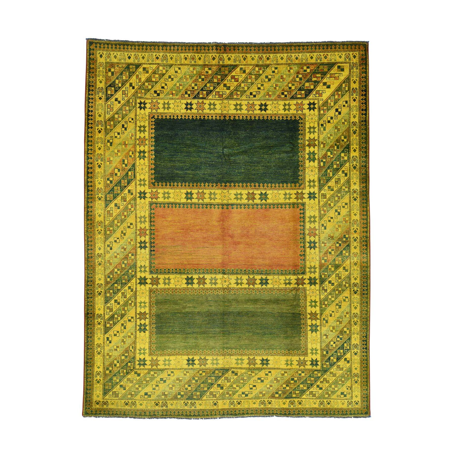 One-of-a-Kind Espada Overdyed Oriental Hand-Knotted Yellow Area Rug