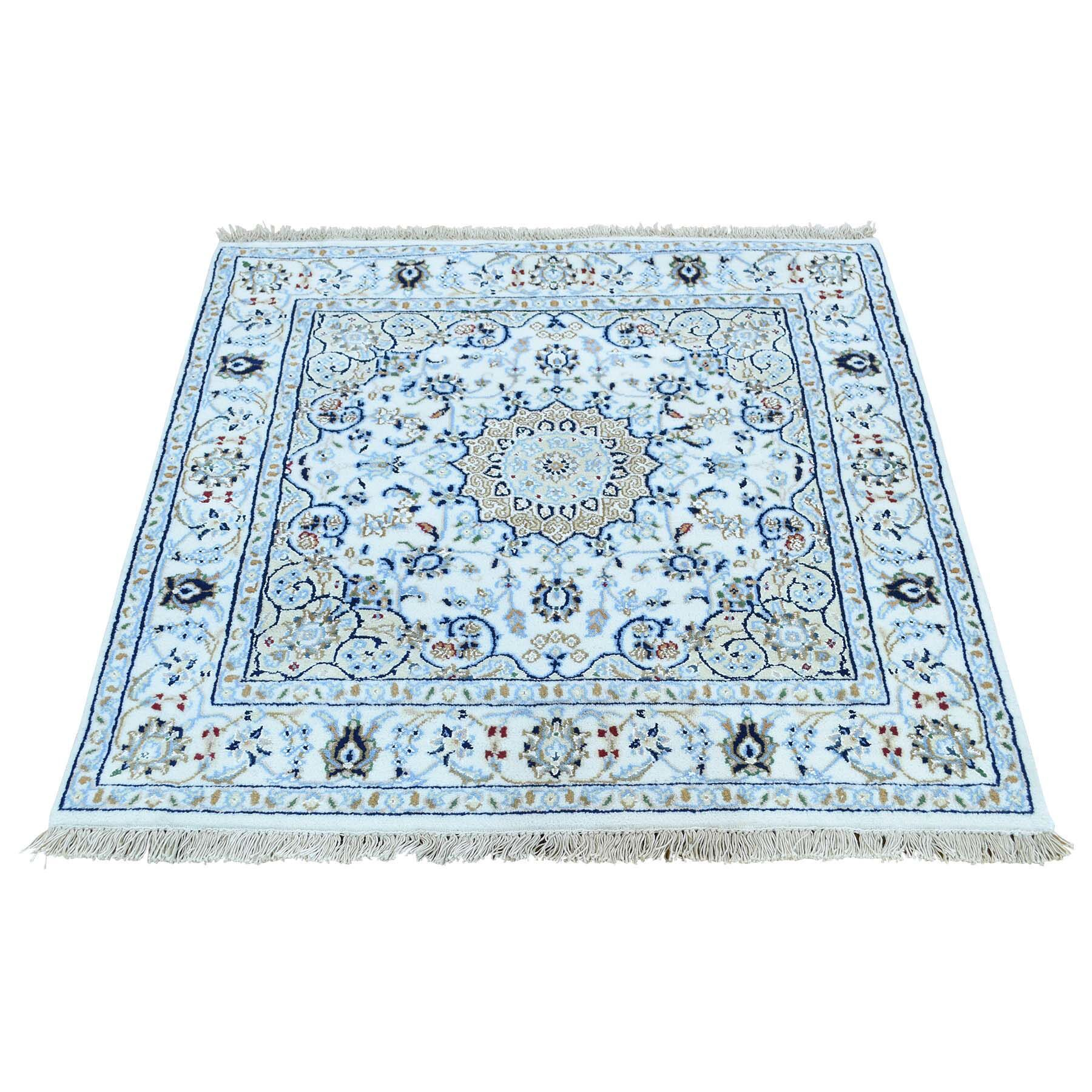 One-of-a-Kind Grigg Nain Hand-Knotted Silk Ivory Area Rug