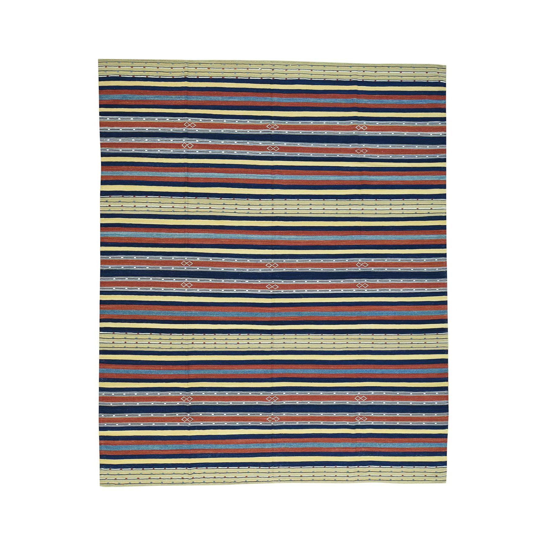 One-of-a-Kind Alpsville Qashqai Kilim Striped Flat Weave Oriental Hand-Knotted Red/Blue Area Rug