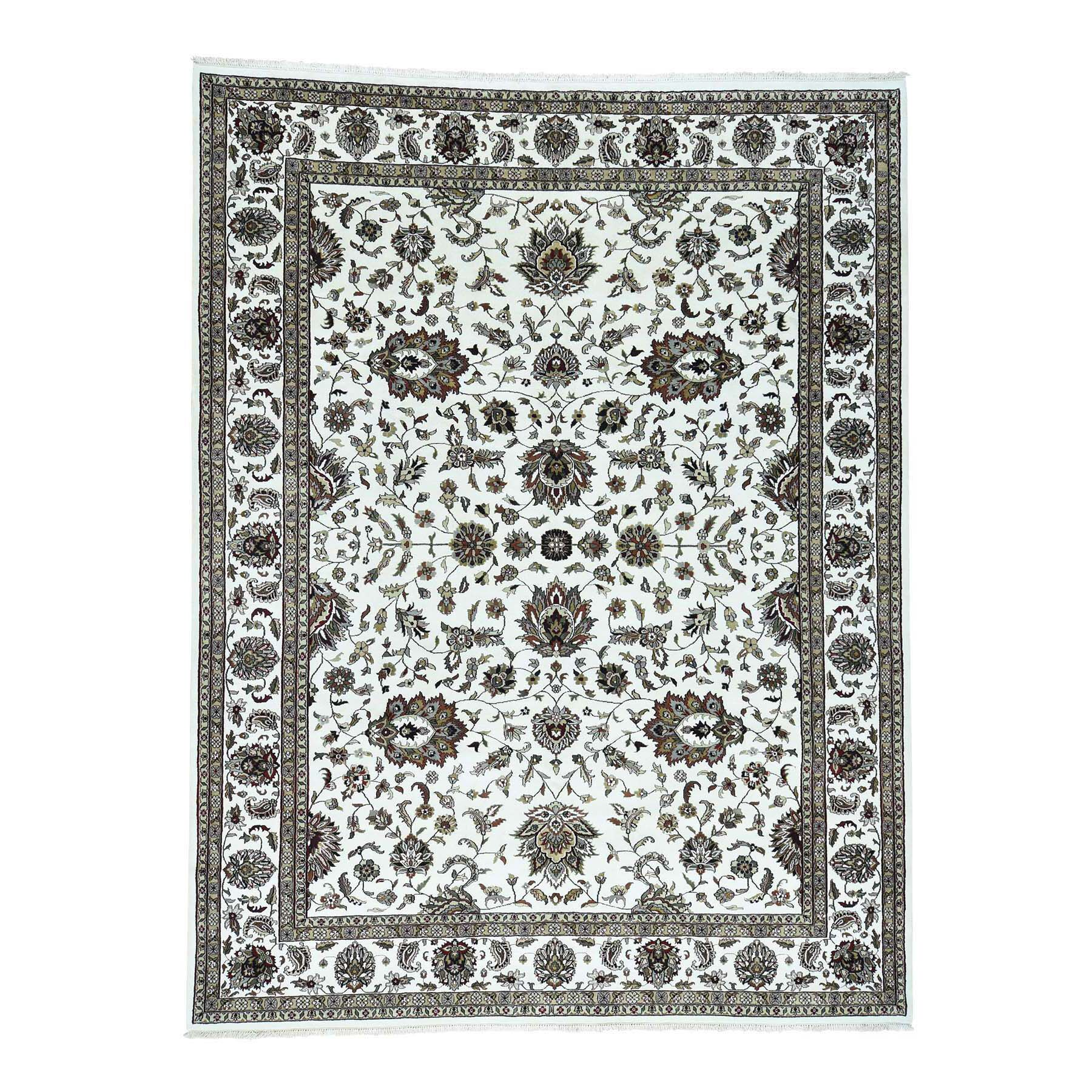 One-of-a-Kind Dillion Persian Oriental Hand-Knotted Silk Ivory Area Rug