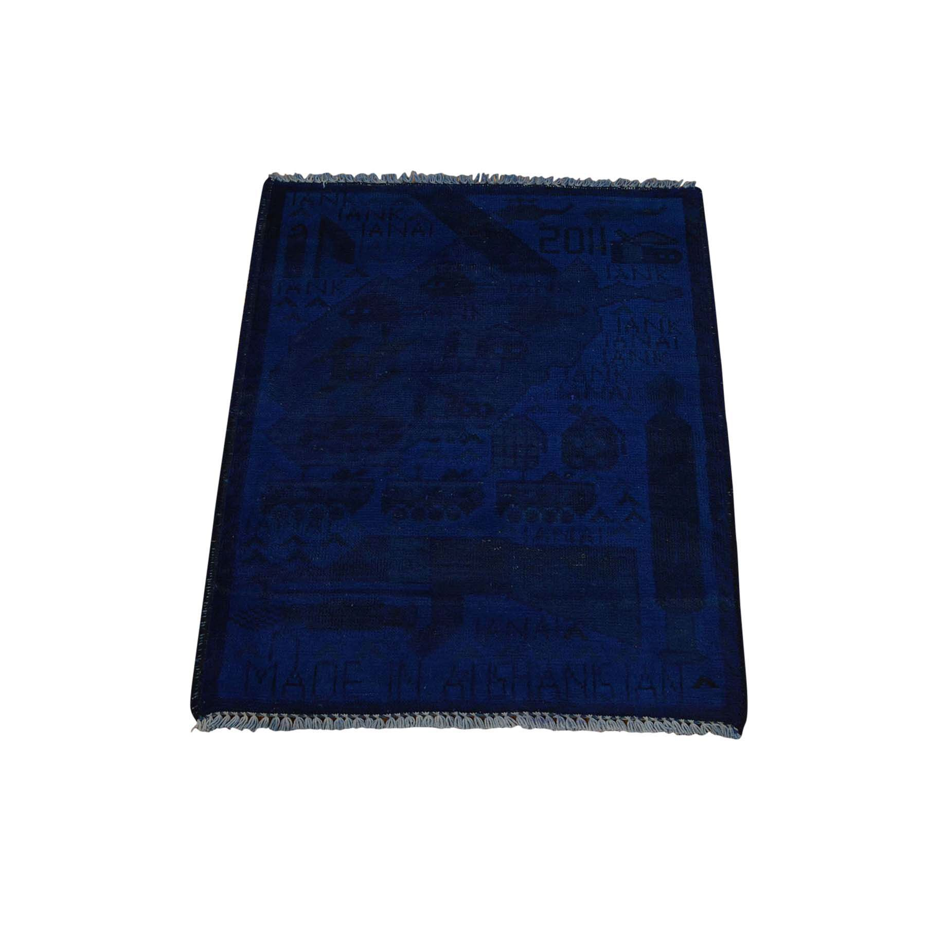 One-of-a-Kind Guns and Tanks Afghan War overdyed Hand-Knotted Blue Area Rug
