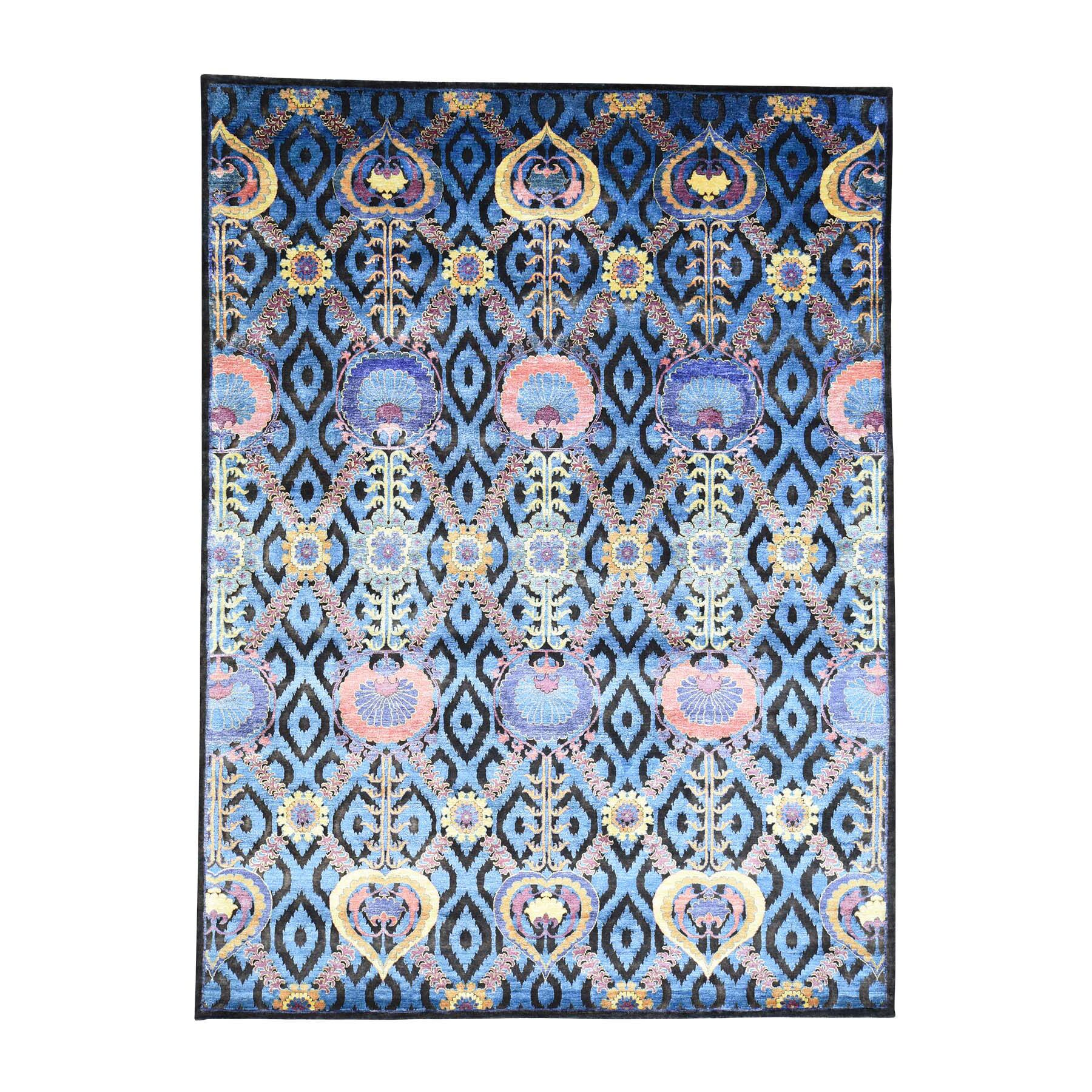 One-of-a-Kind Pecora Modern Arts and Crafts Hand-Knotted Silk Blue Area Rug