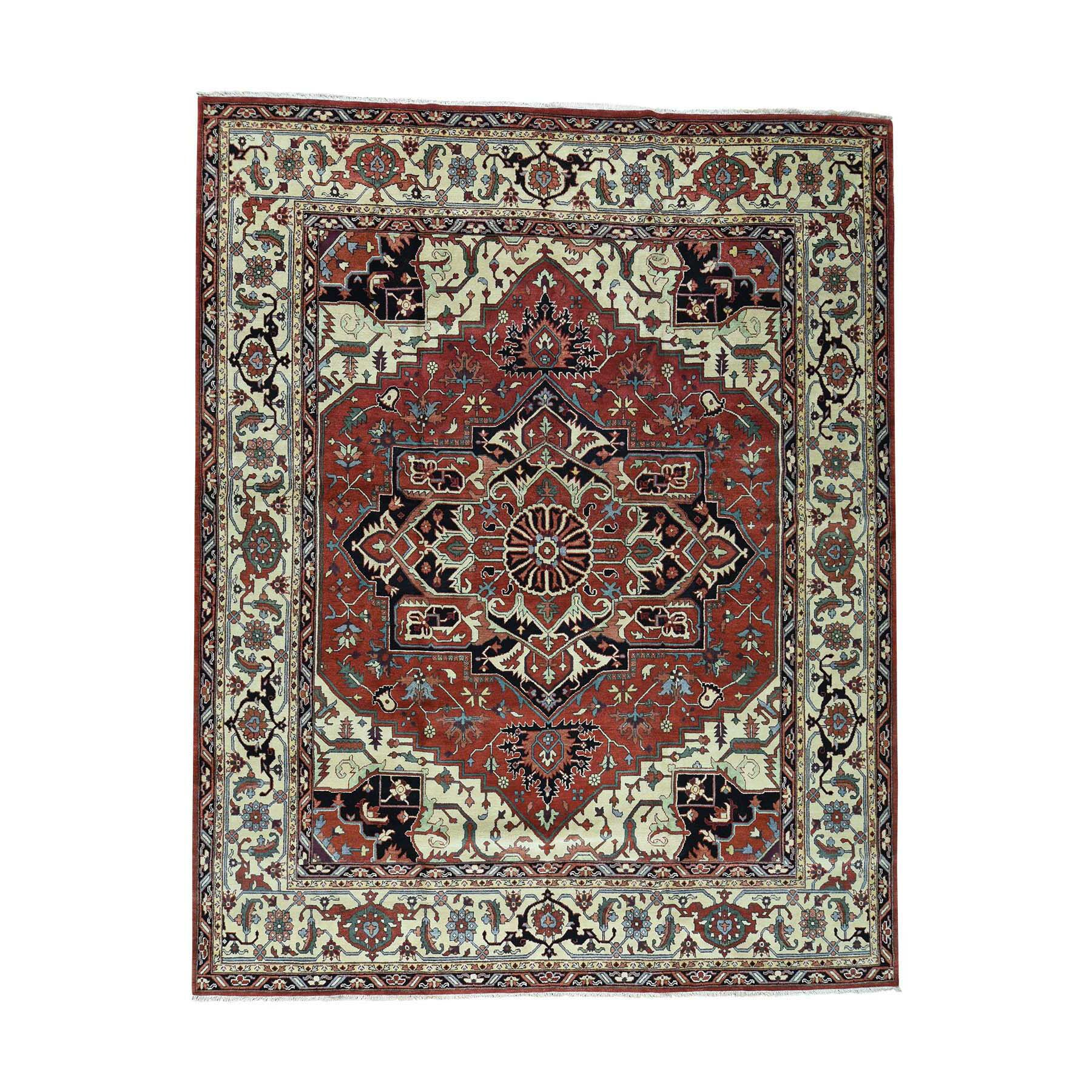 One-of-a-Kind Newcastle Serapi Oriental Hand-Knotted Red Area Rug
