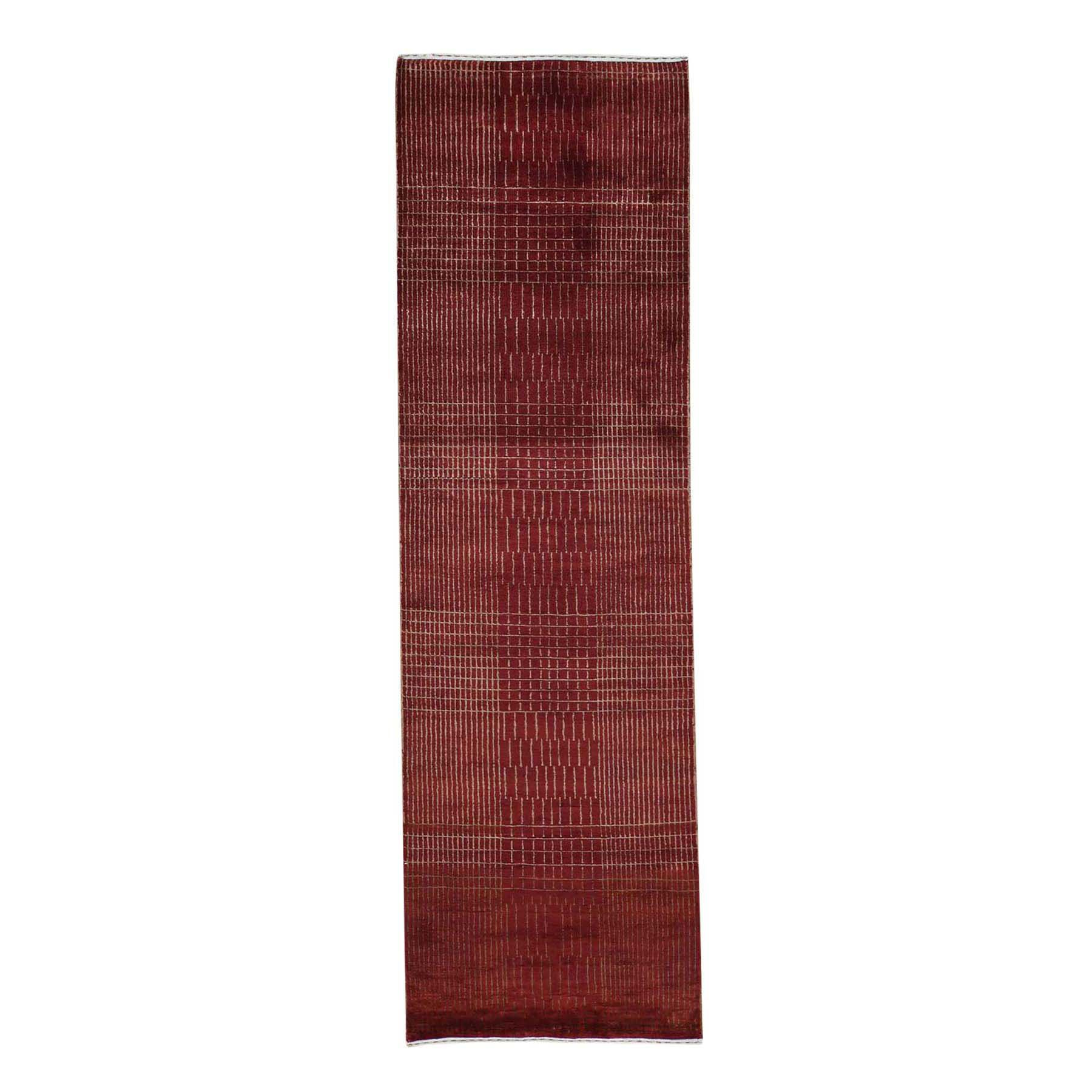 One-of-a-Kind Ebner Modern Nepali Hand-Knotted Silk Red Area Rug