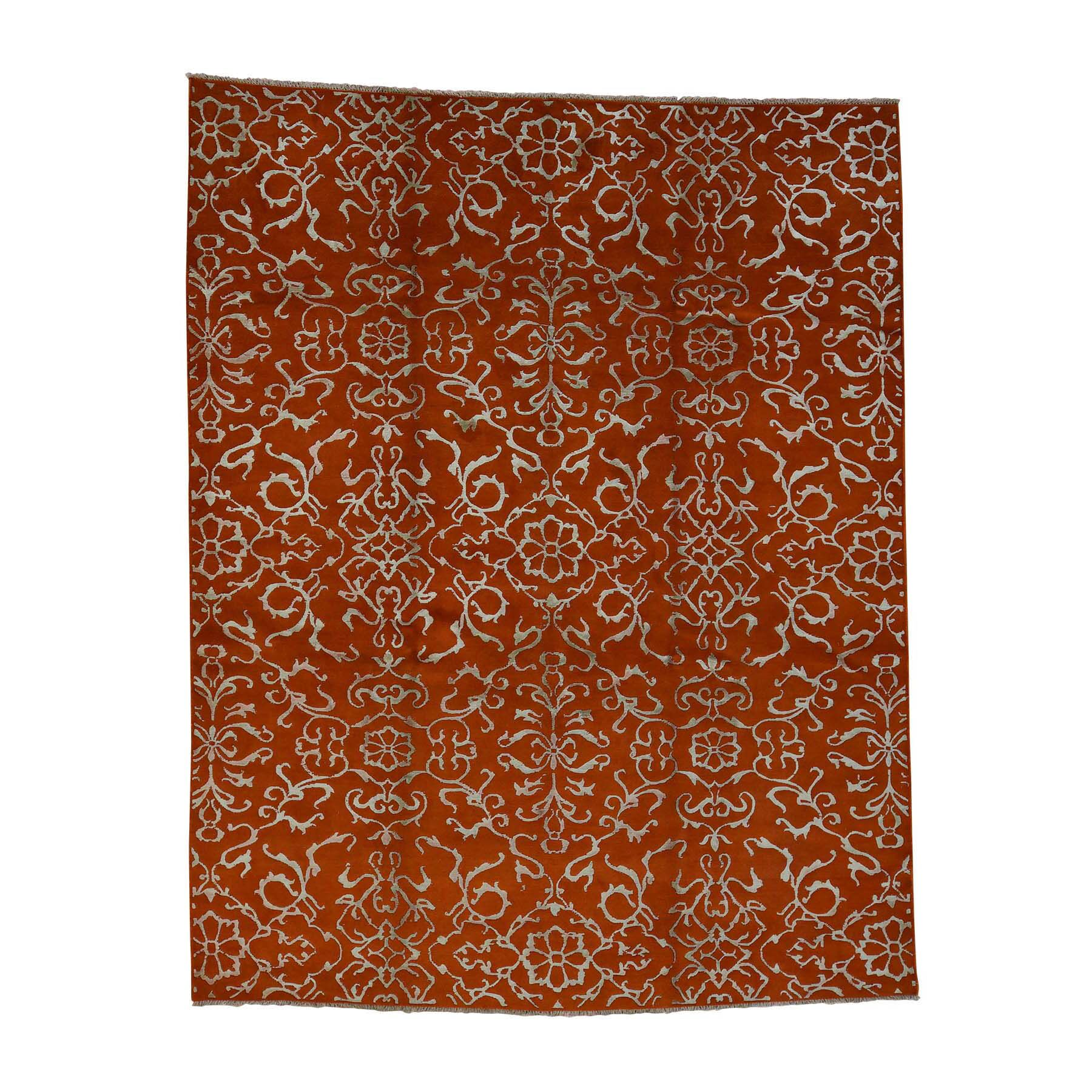 One-of-a-Kind Ector Modern Oriental Hand-Knotted Silk Orange Area Rug