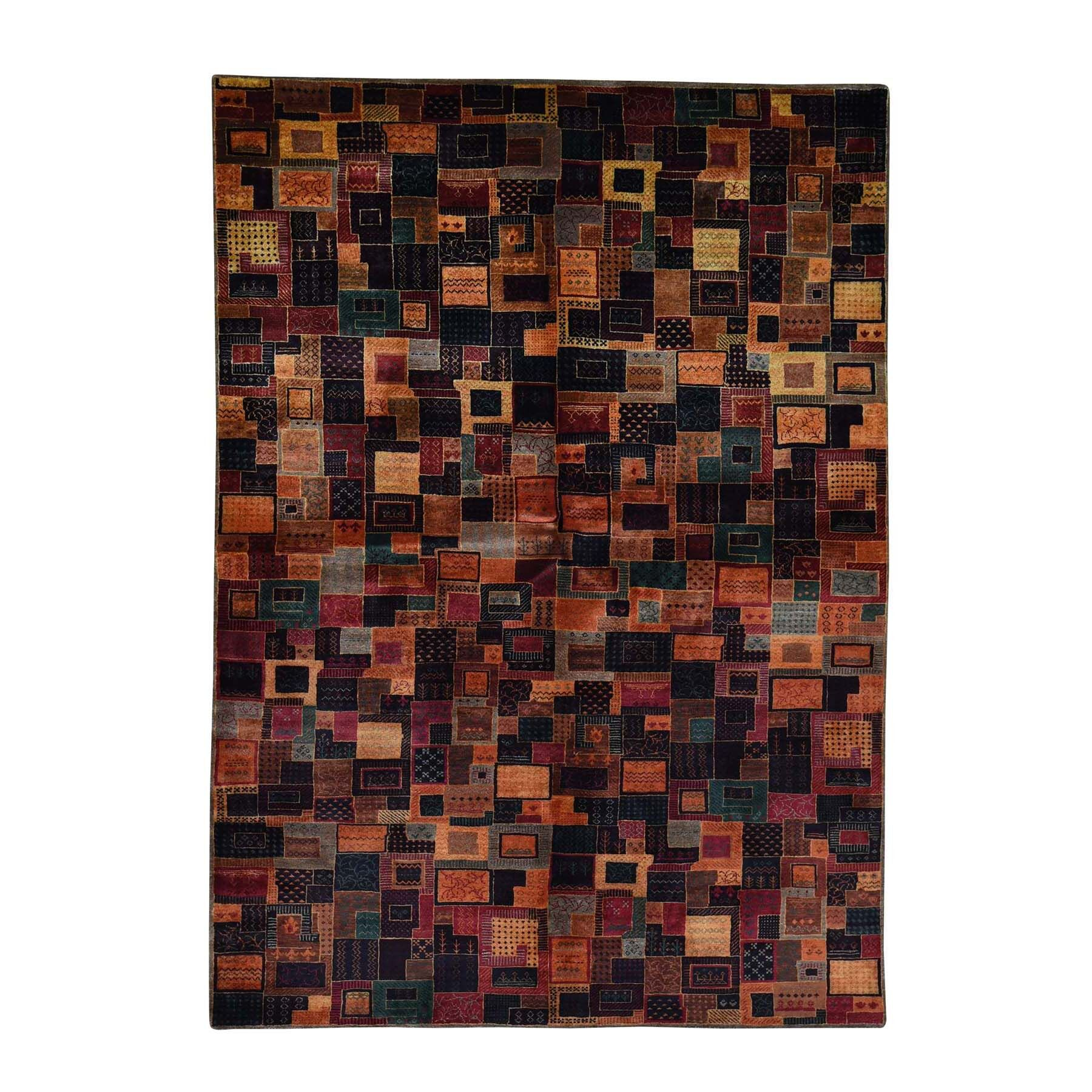 One-of-a-Kind Pinette Patchwork Lori Buft Oriental Hand-Knotted Brown/Blue Area Rug
