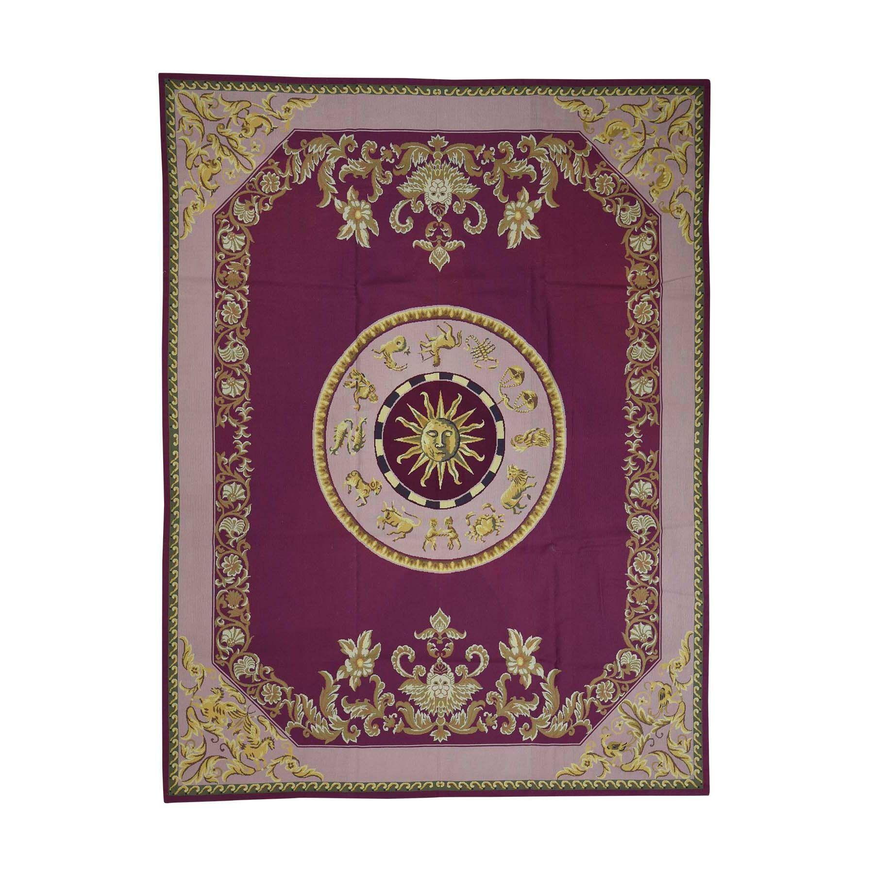 One-of-a-Kind Pinkham Needlepoint Zodiac Theme Hand-Knotted Purple Area Rug