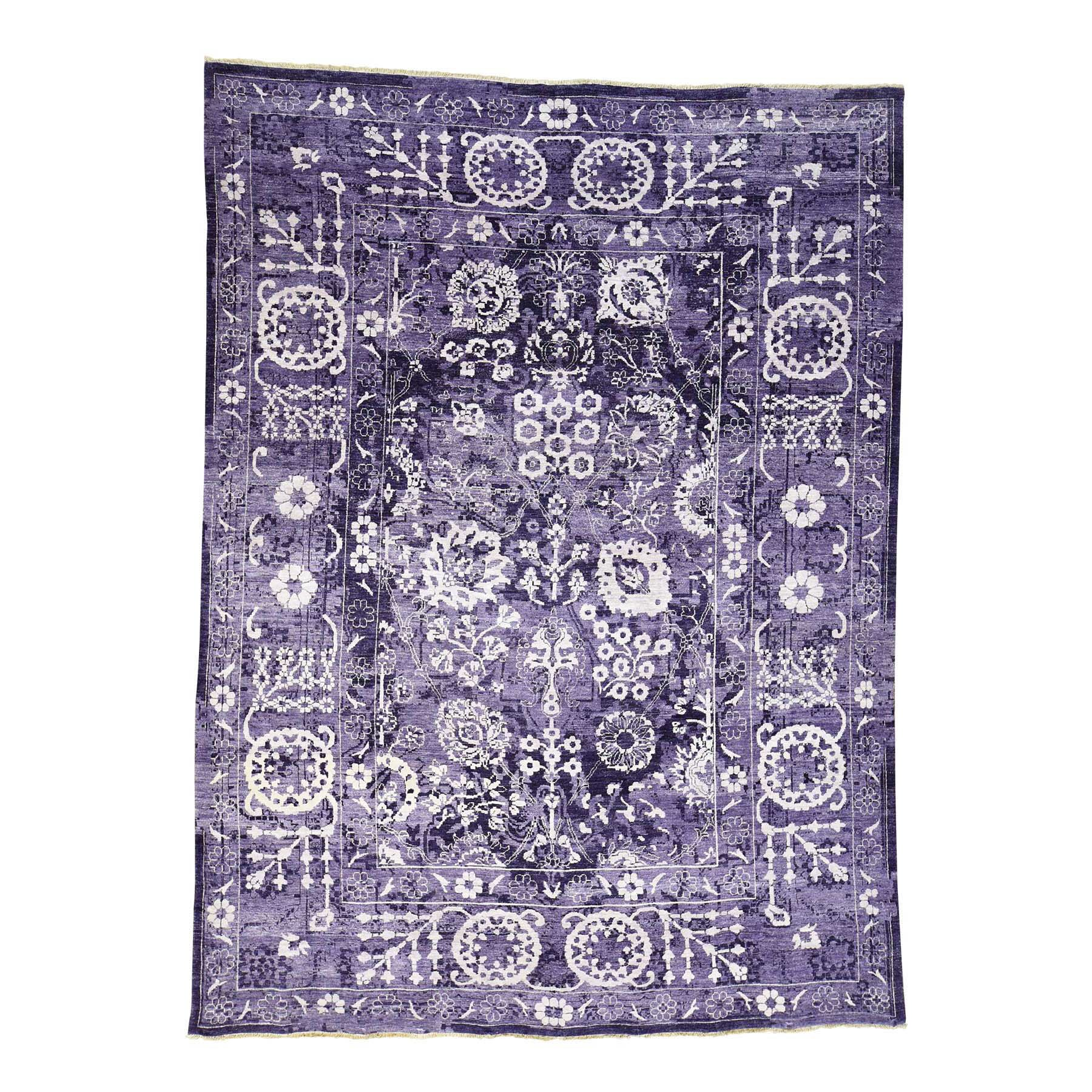 One-of-a-Kind Entwistle Tabriz Hand-Knotted Silk Purple Area Rug