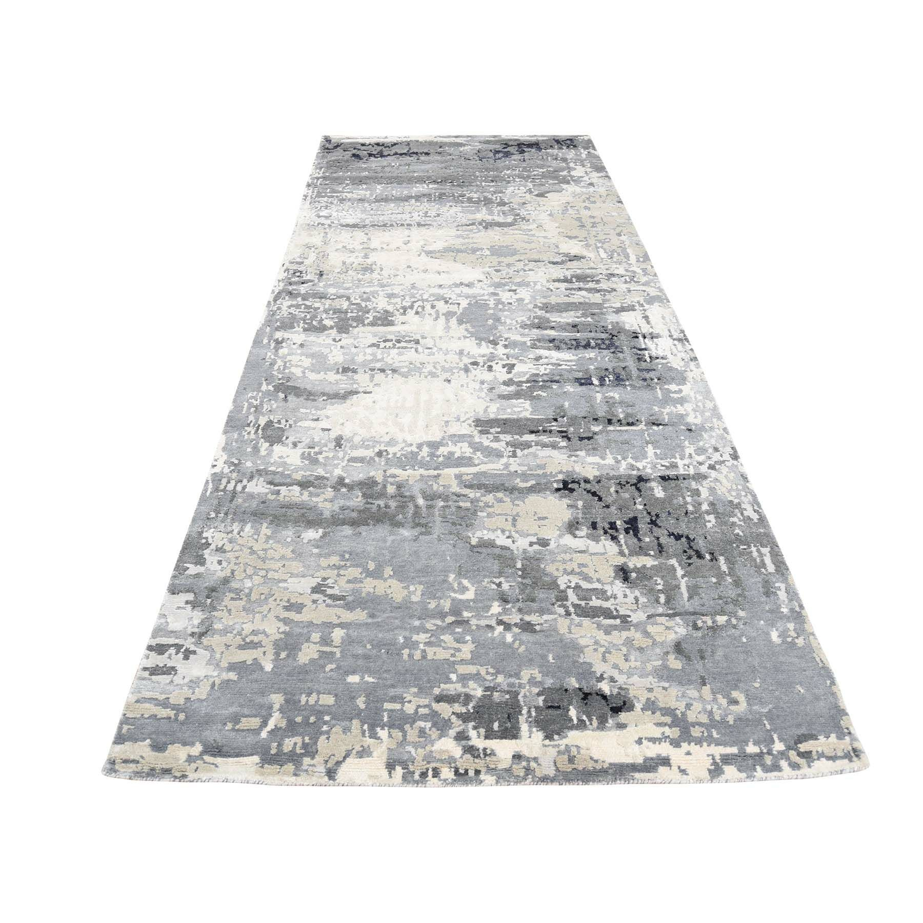 One-of-a-Kind Goodlow Abstract Wide Hand-Knotted Silk Gray Area Rug