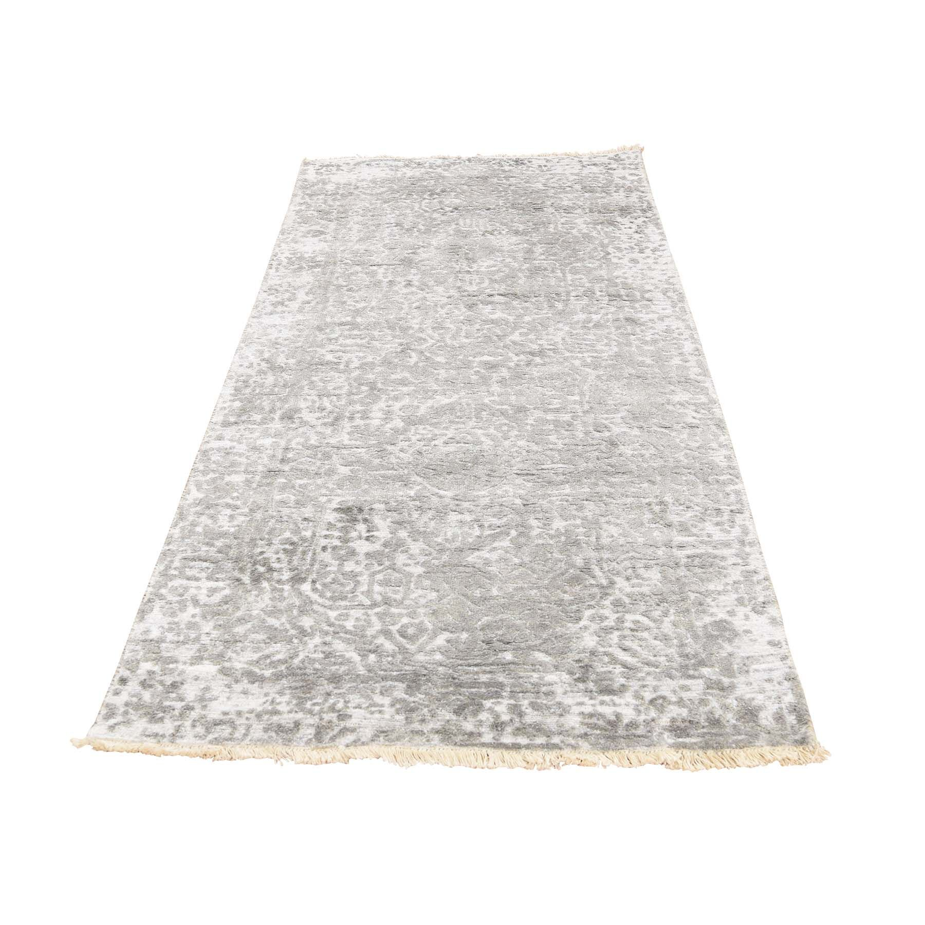 One-of-a-Kind Gustafson Broken Persian and Pure Hand-Knotted Silk Gray Area Rug