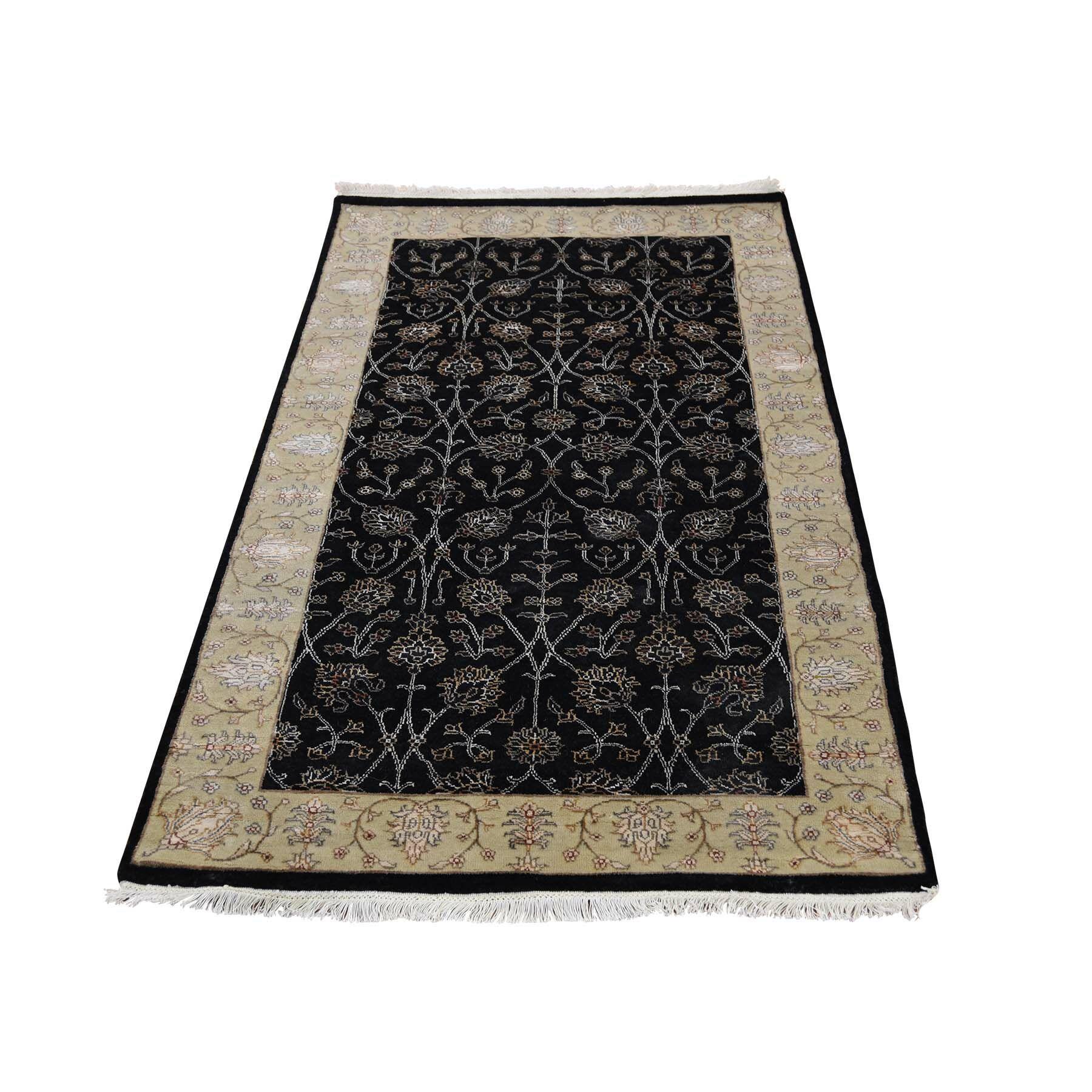 One-of-a-Kind Fontanez Tabriz Half Half Hand-Knotted Silk Black Area Rug
